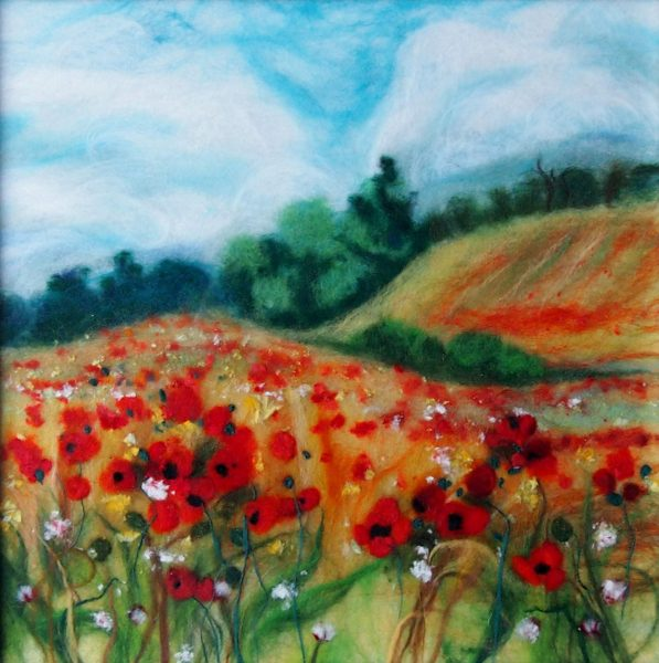 'Field with  red poppies' wool painting textiles course with Raya Brown