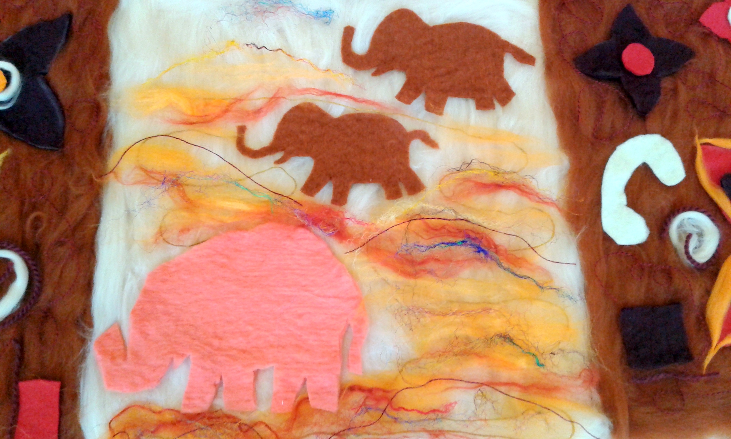 Part of a banner with elephants