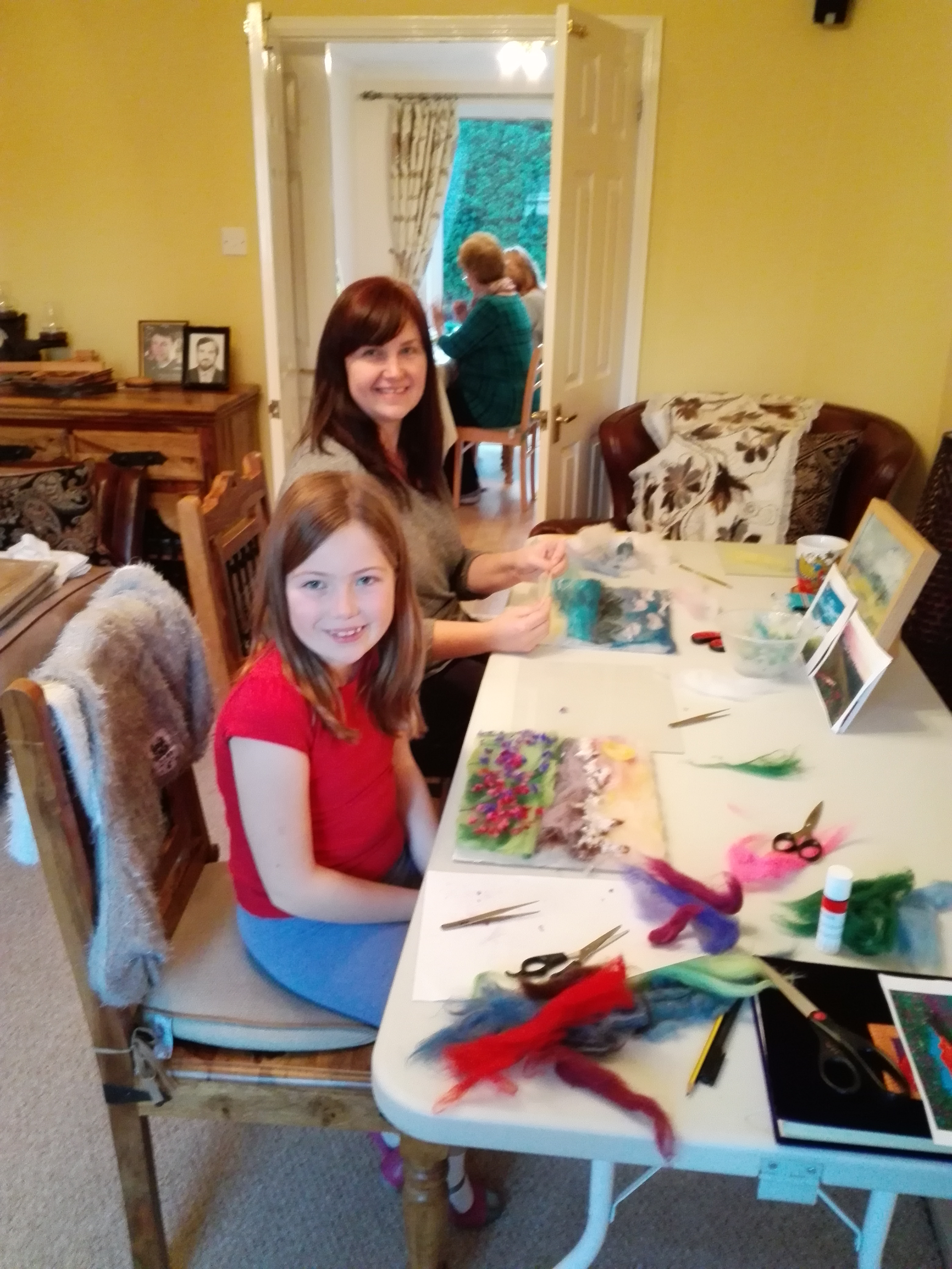 Sam and e daughter Megan at the Wool Painting workshop