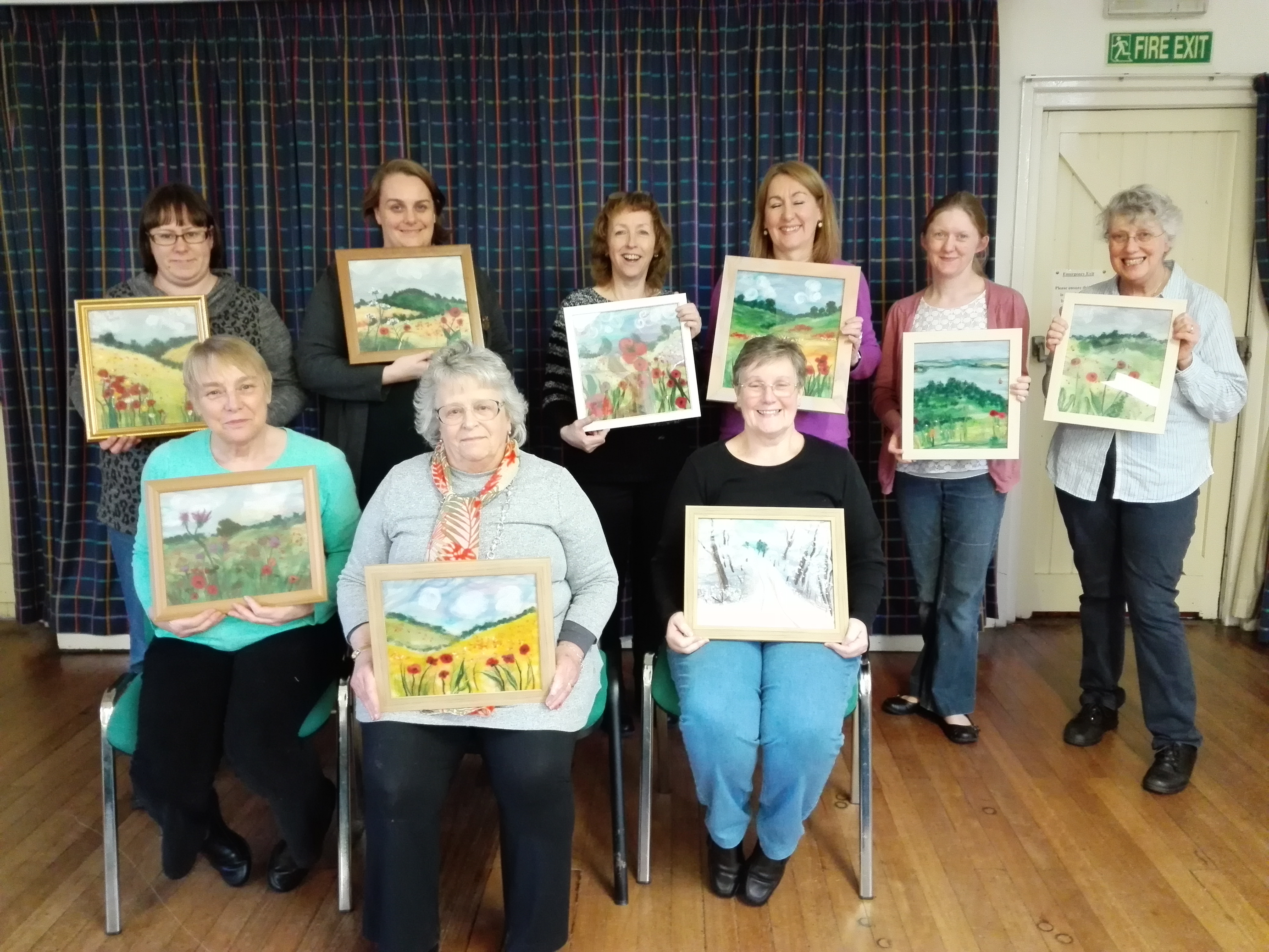 Wombourne Quilters with their finished Wool Paintings