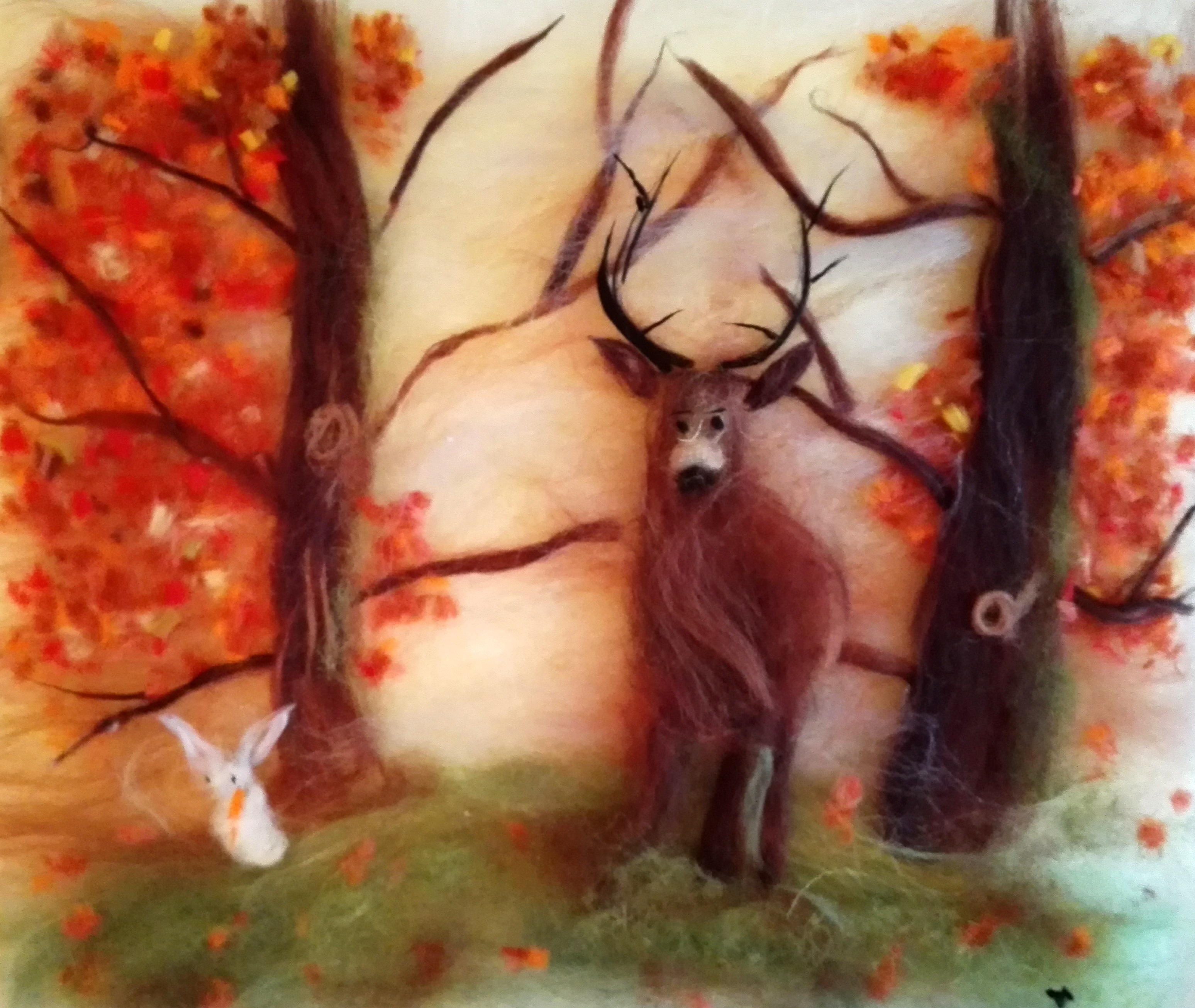 Wool fibre watercolour created at at wool painting class in Kidderminster Worcestershire
