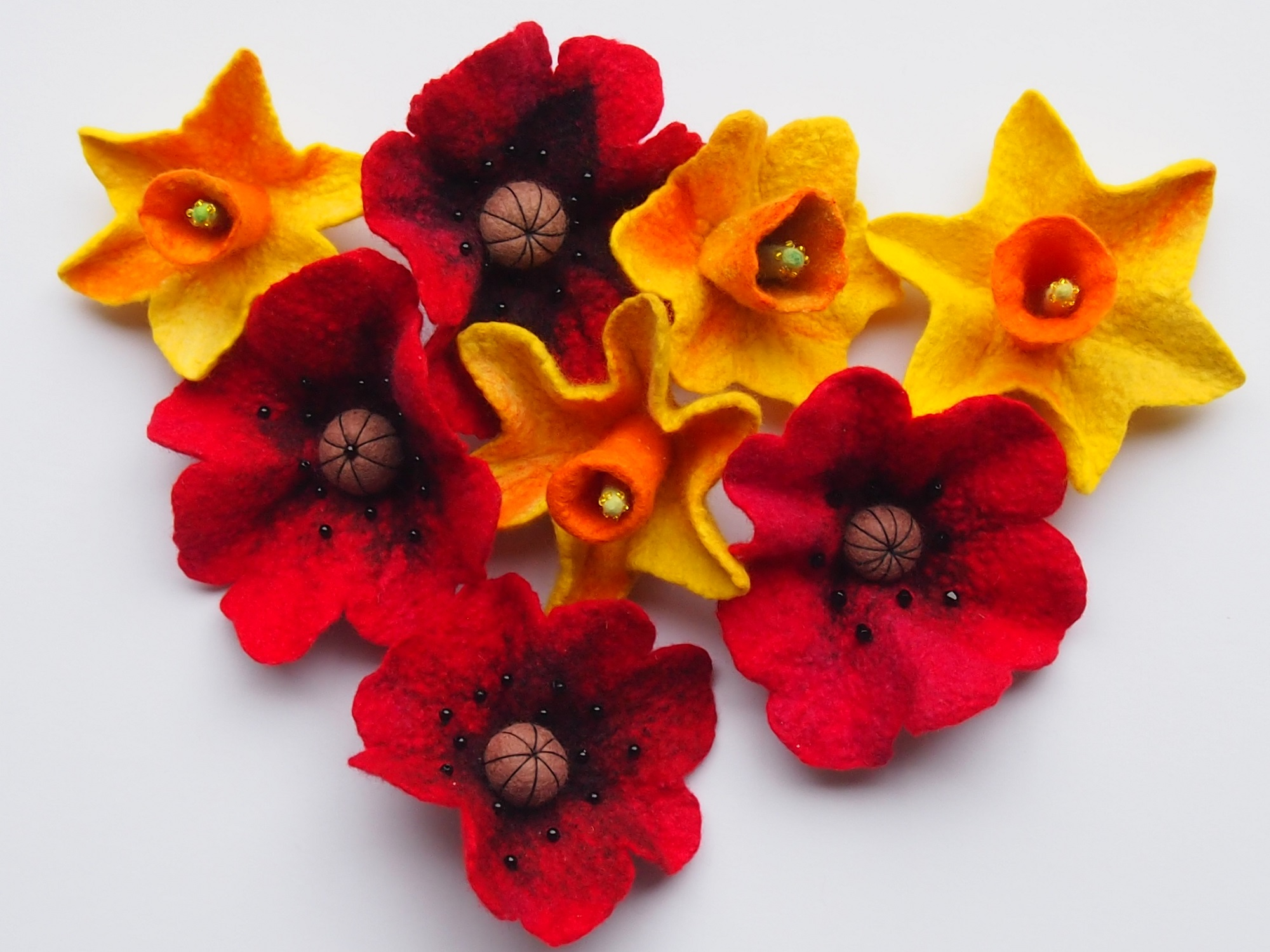 Felted Poppies and Daffodils
