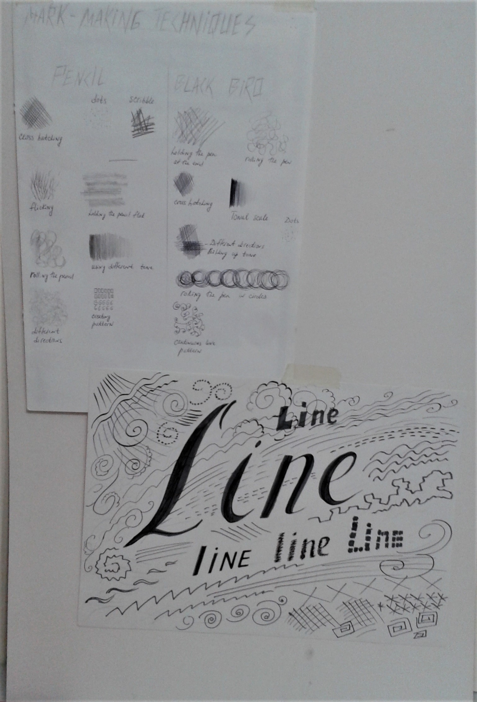 The students learnt about different types of lines and explored mark making.