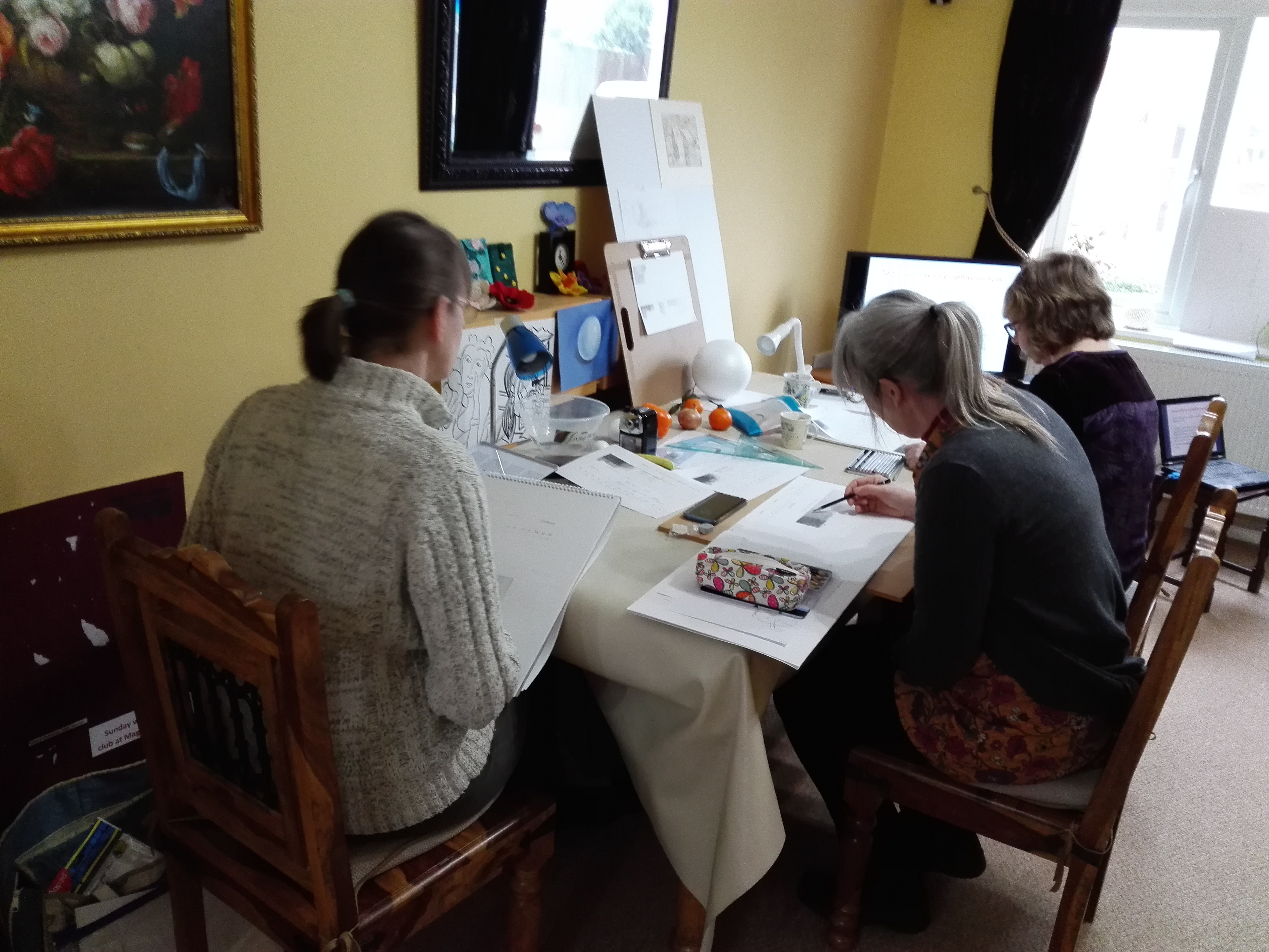 Students at Art Classes in Worcestershire were exploring tone this week with Kidderminster Artist Raya Brown