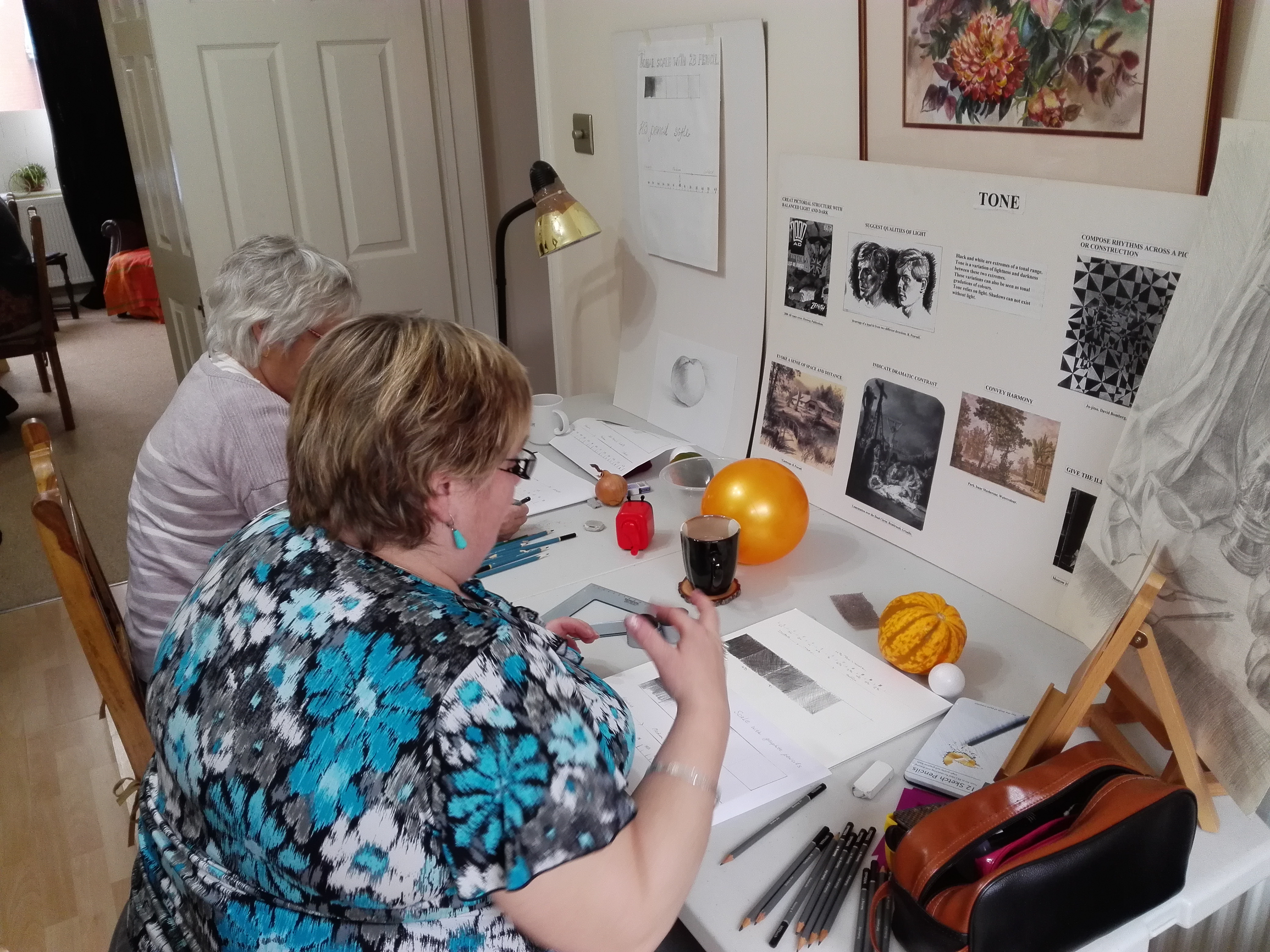 Students studying tone at Magic Wool Art and Craft Studio in Kidderminster