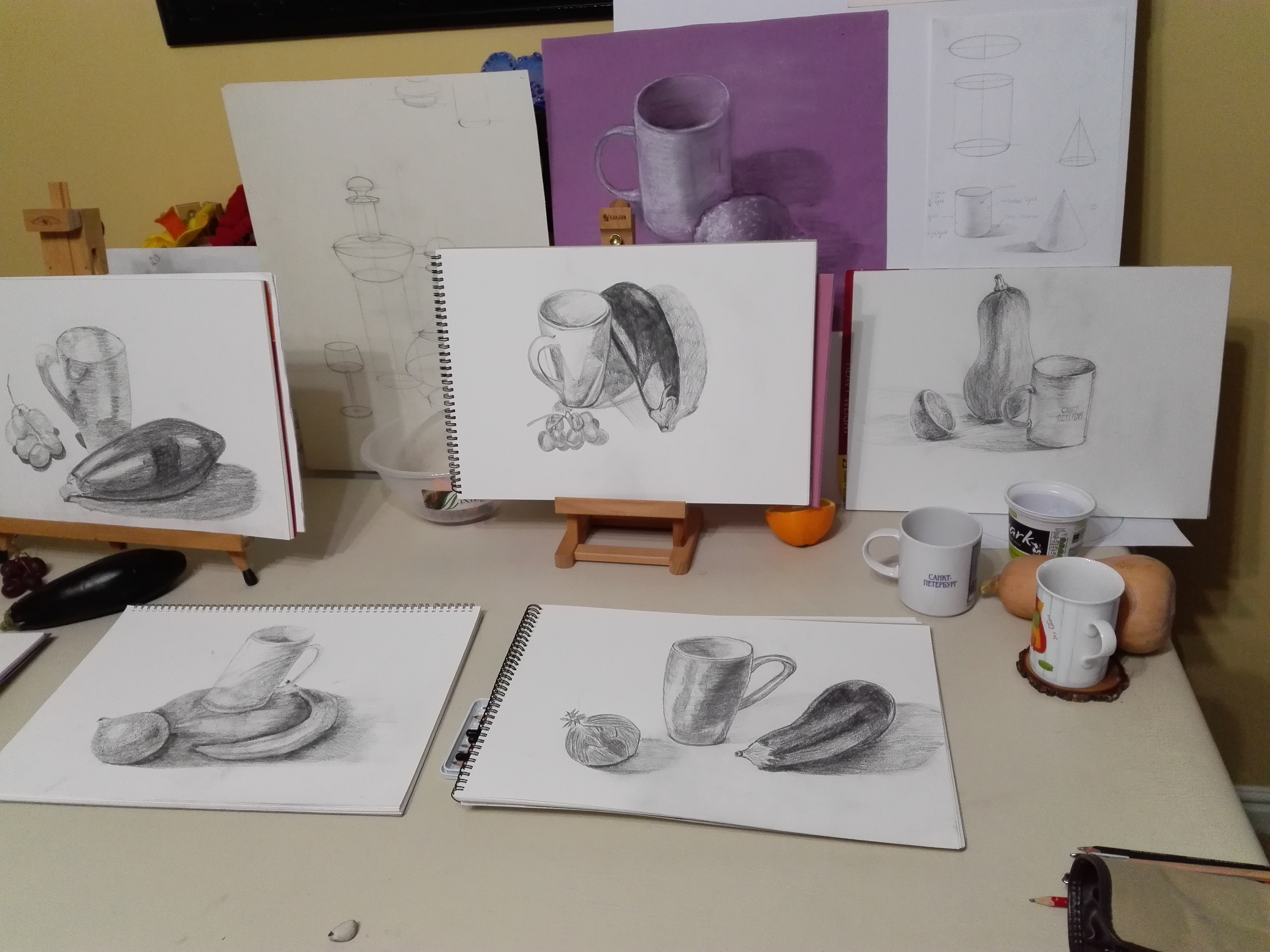 Still Lifes drawn by complete beginners in Art at Magic Wool Art and Craft Studio in Kidderminster