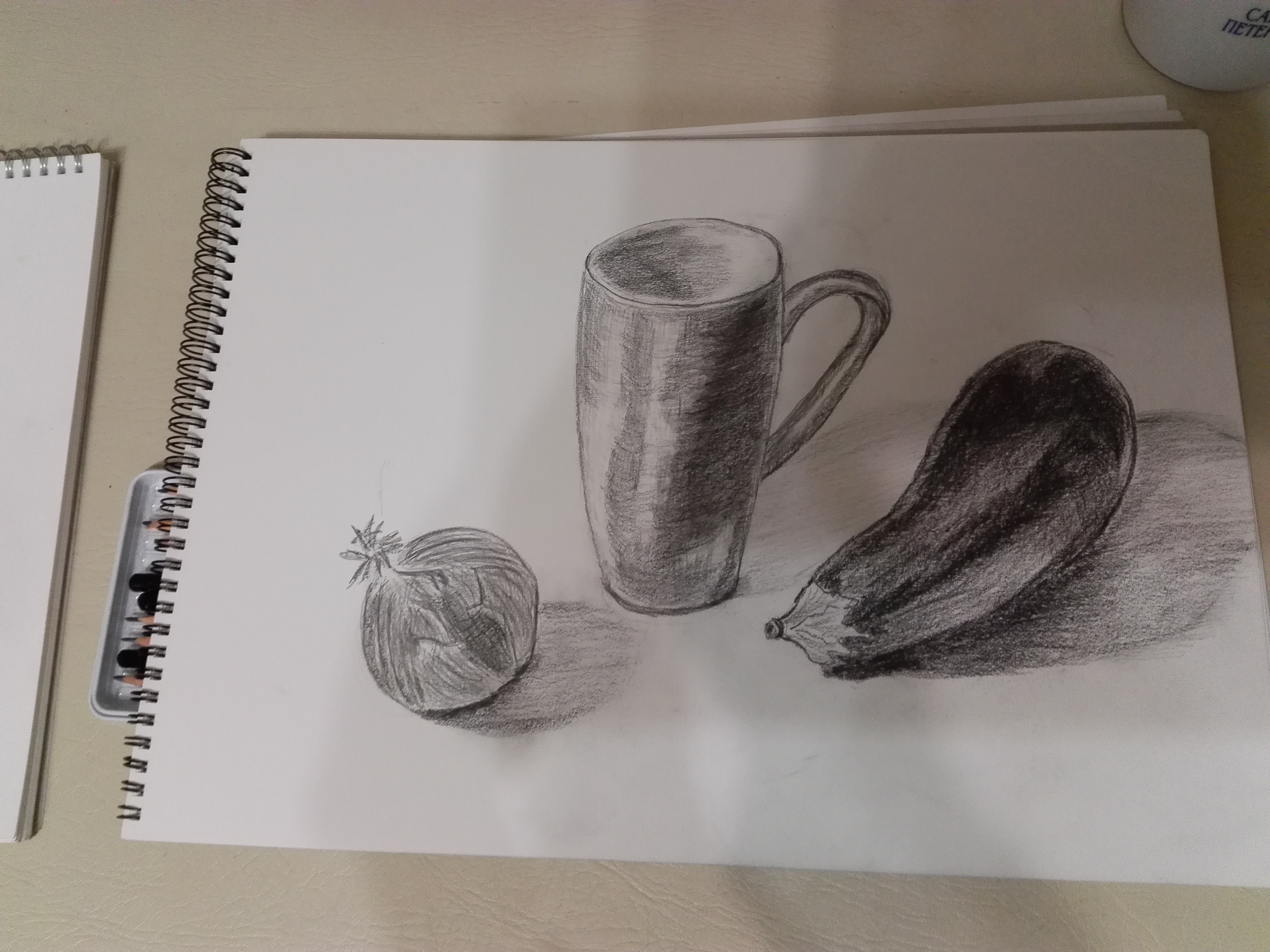 Student's still life drawn at Magic Wool Art and Craft studio at beginners Art class.