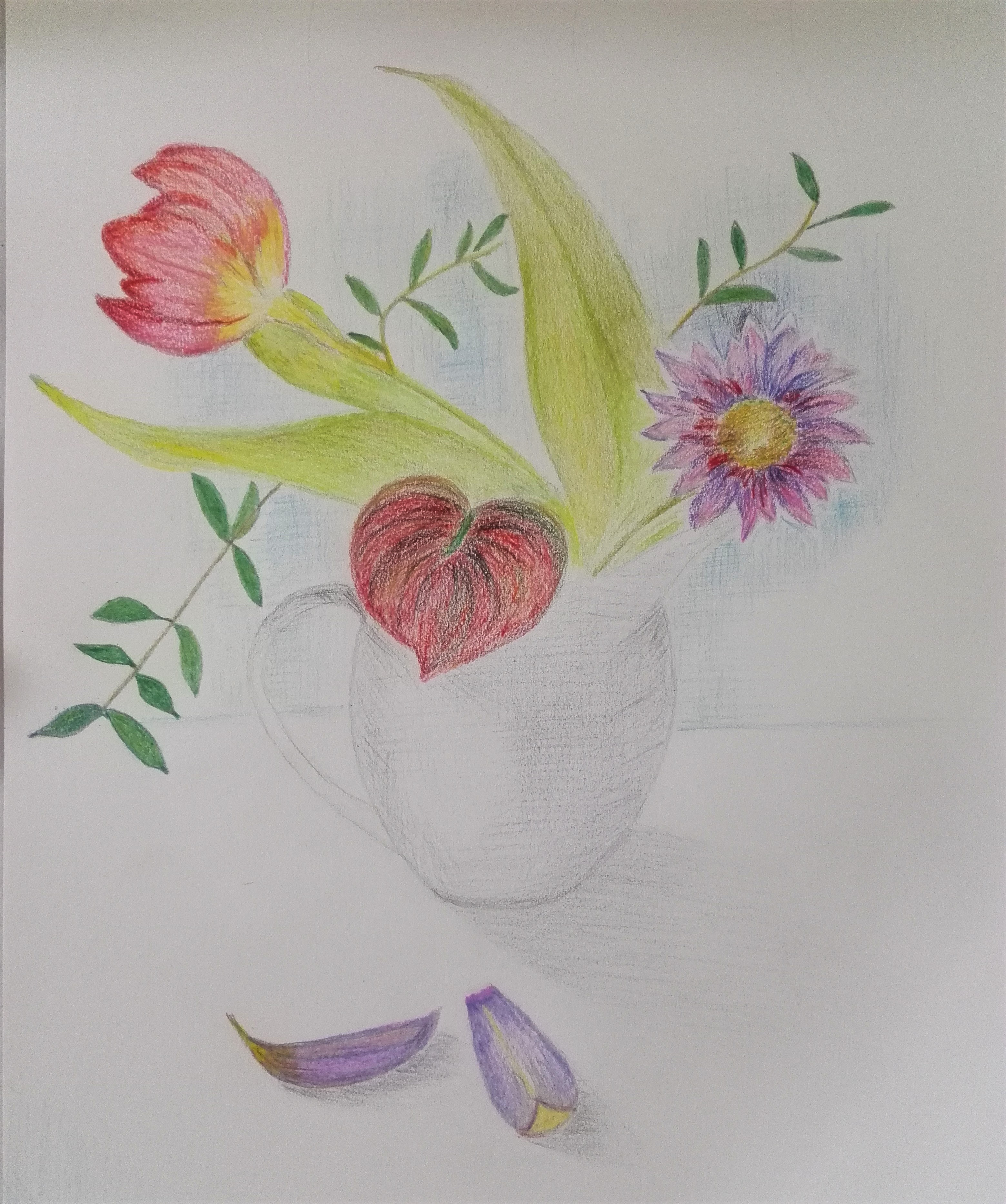 Adult Learner's work . Coloured pencil drawing of floral still life at Magic Wool Art and Craft Studio