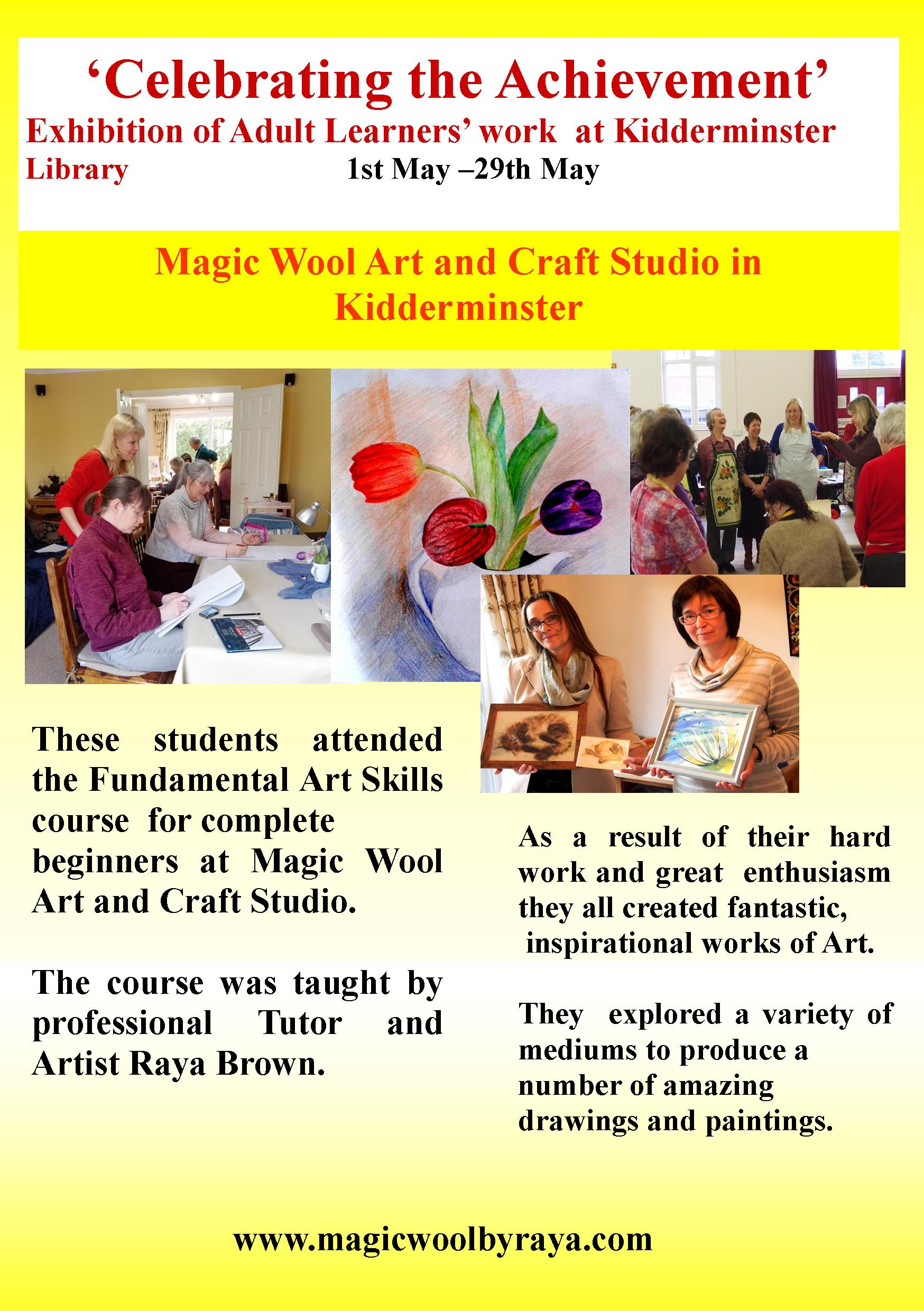 Exhibition of Adult Learners Art Work from Magic Wool Art and Craft Studio at Kidderminster Library