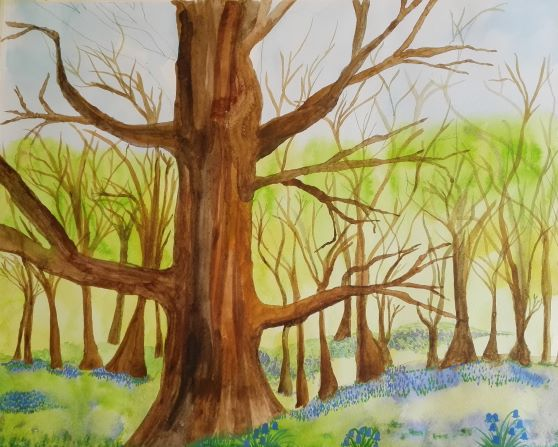Chris's watercolour created at Magic Wool Art and Craft Studio in Worcestershire