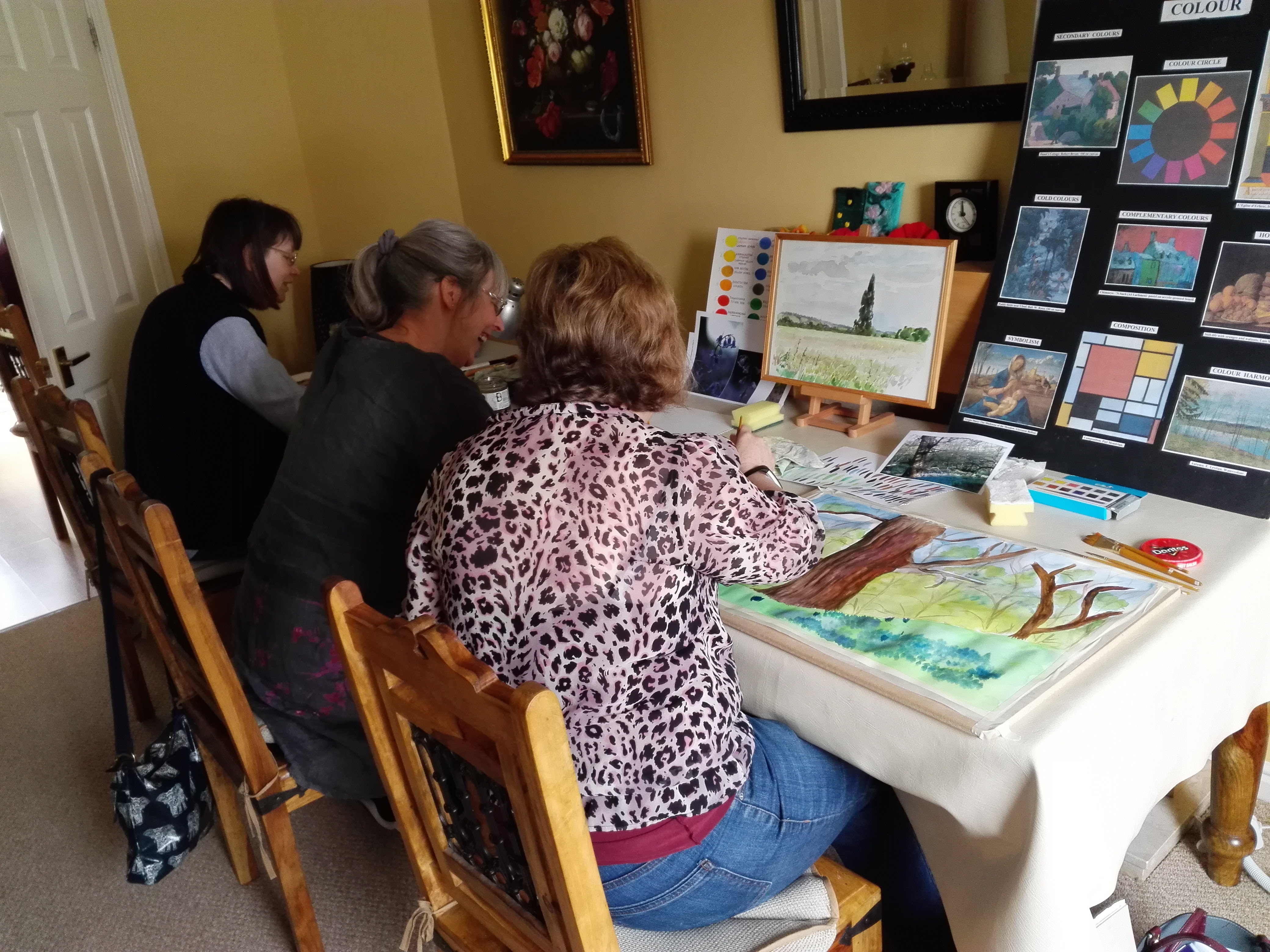 Adult learners exploring watercolours at Fundamental Art Skills course