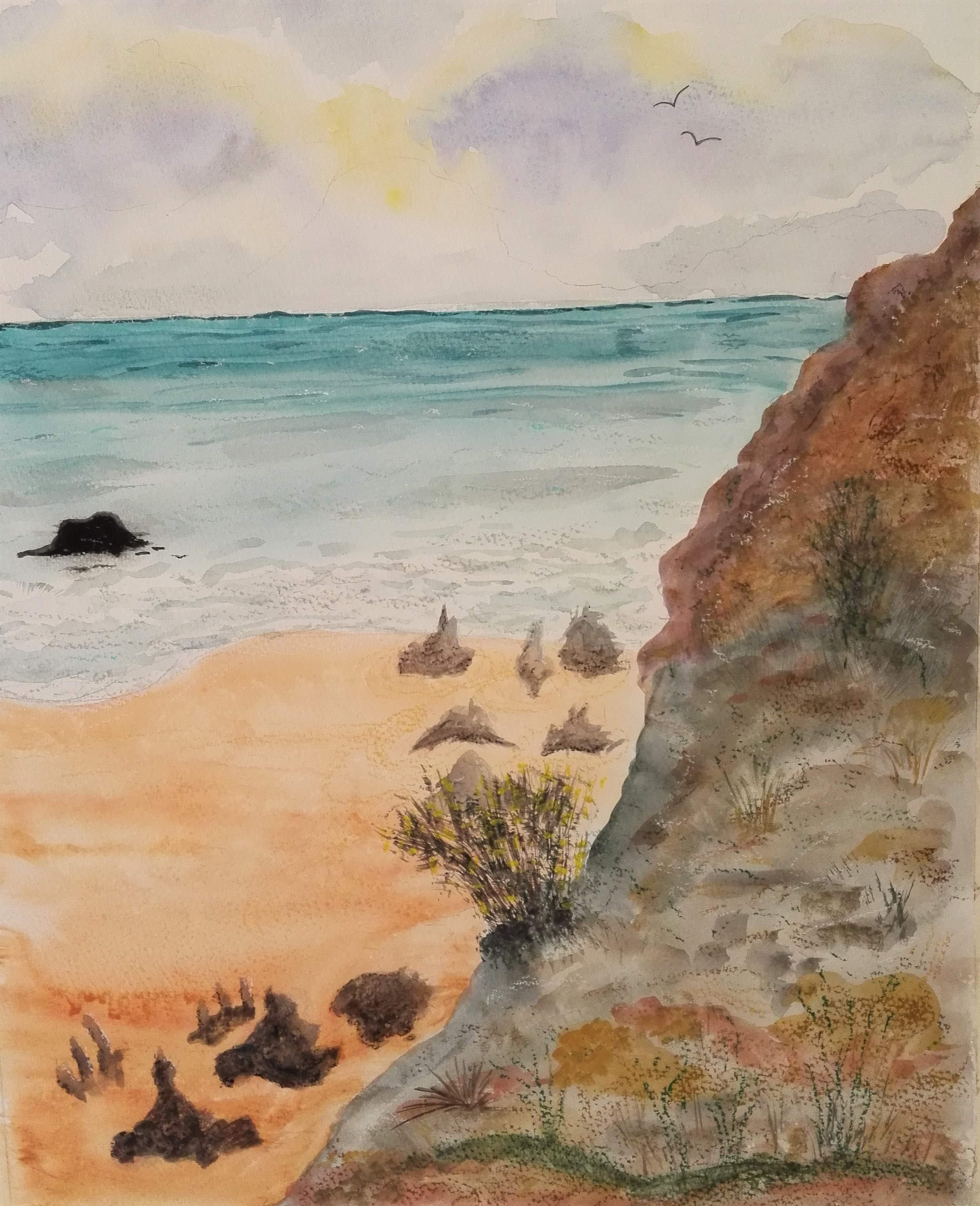Seascape watercolour painted by a student at Magic Wool Art and Craft Studio in West Midlands