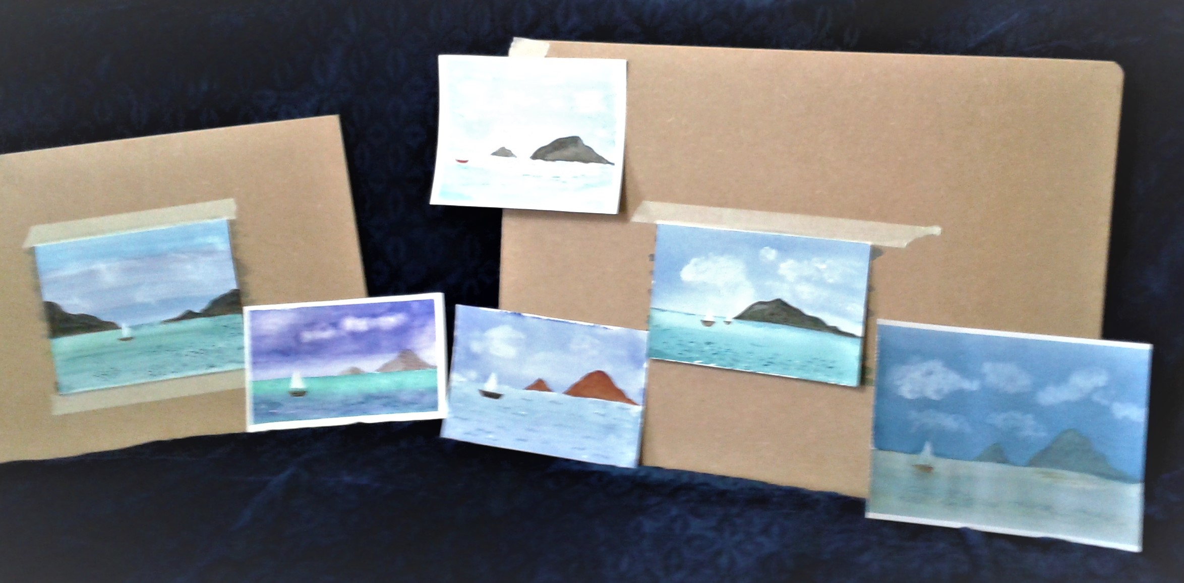 The first watercolours produced by Art Students at magic Wool Art and Craft Studio