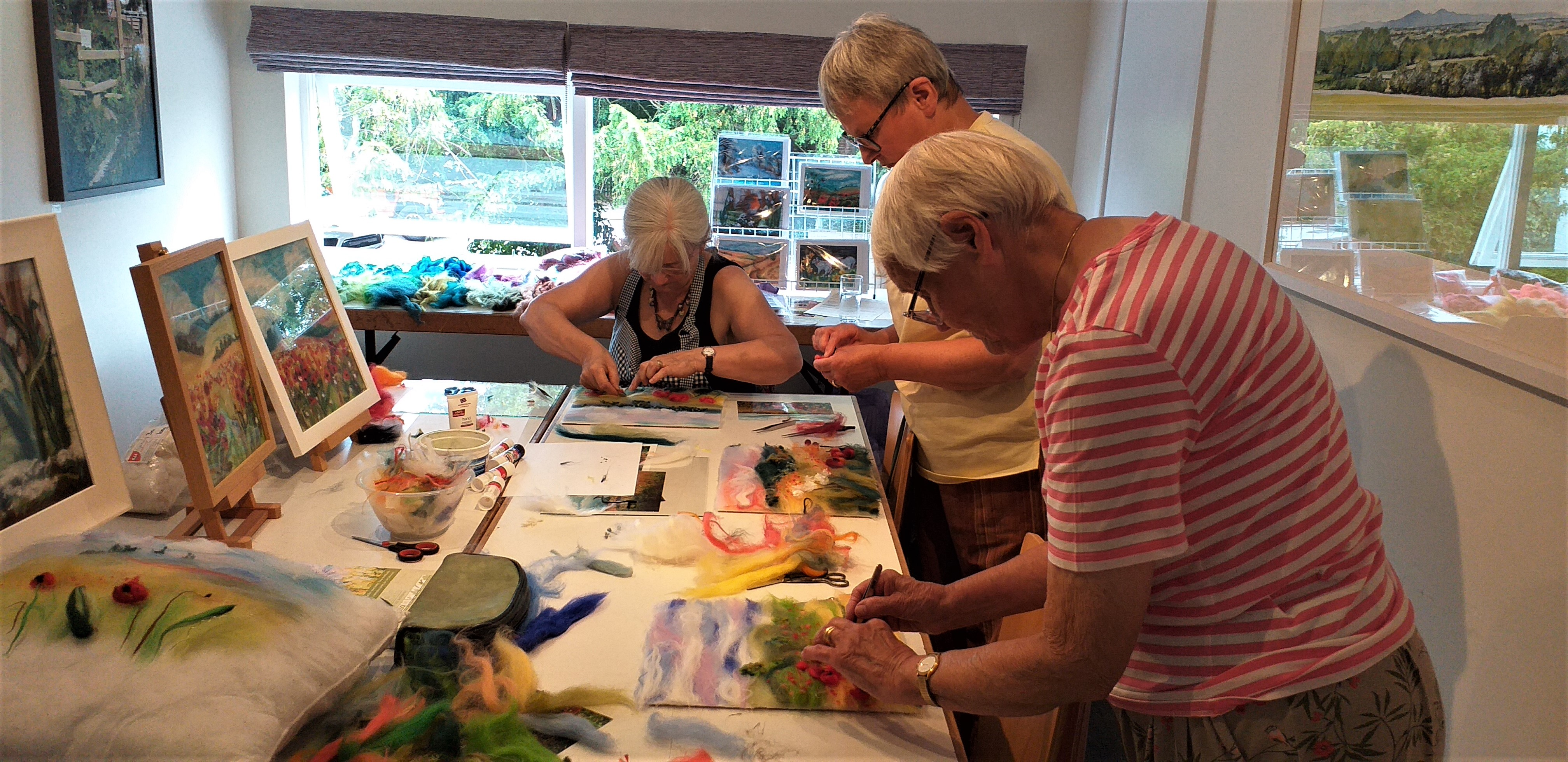 Adult wool painting class with artist Raya Brown at Bevere Gallery Worcester