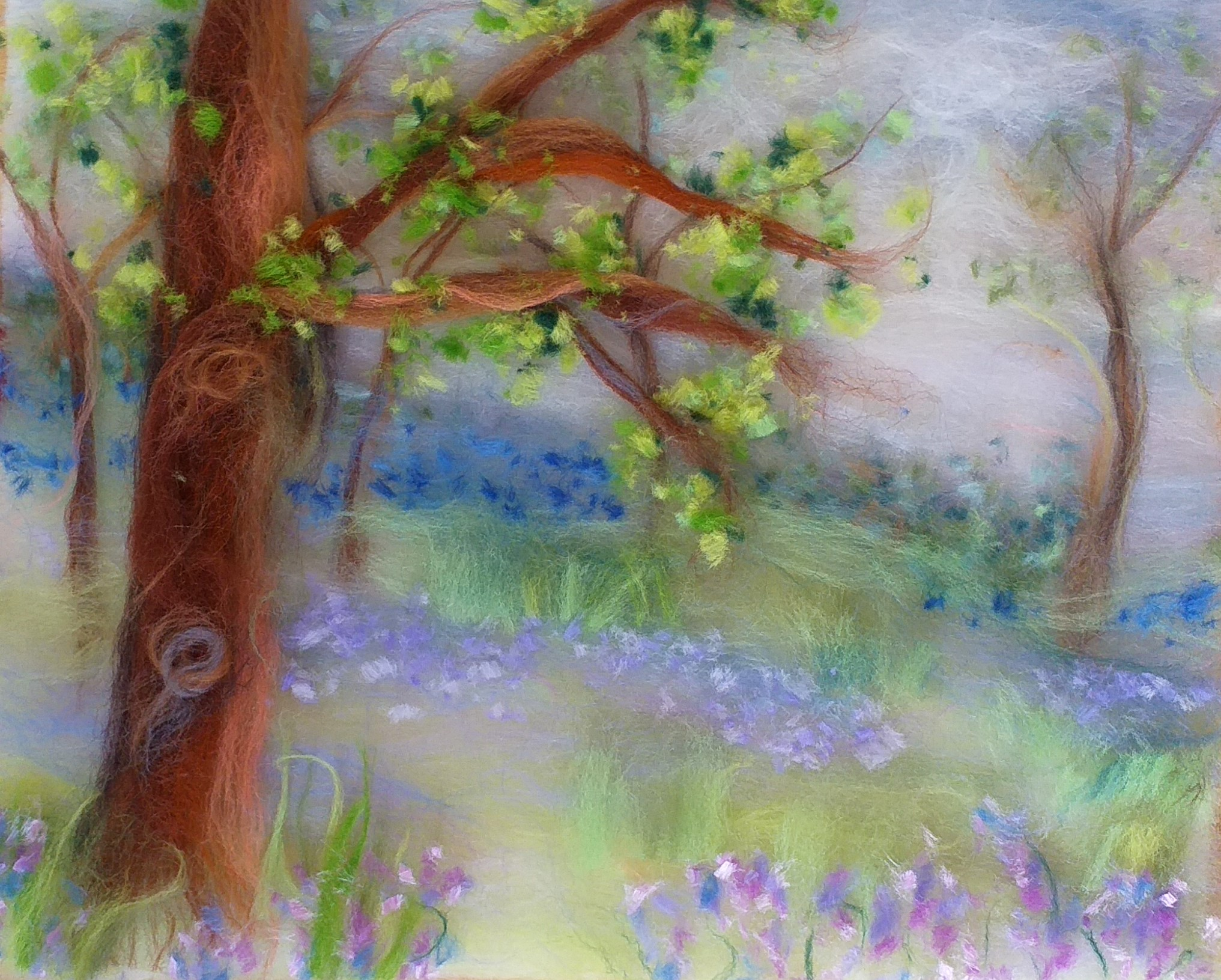 Gill's wool fibre painting made with merino wool fibres with artist Raya Brown from Magic Wool Art and Craft Studio in Worcestershire