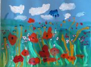 Children at Art and Craft Class in Kidderminster being inspired by Artist's wool fibre paintings of poppy fields near Bewdley.