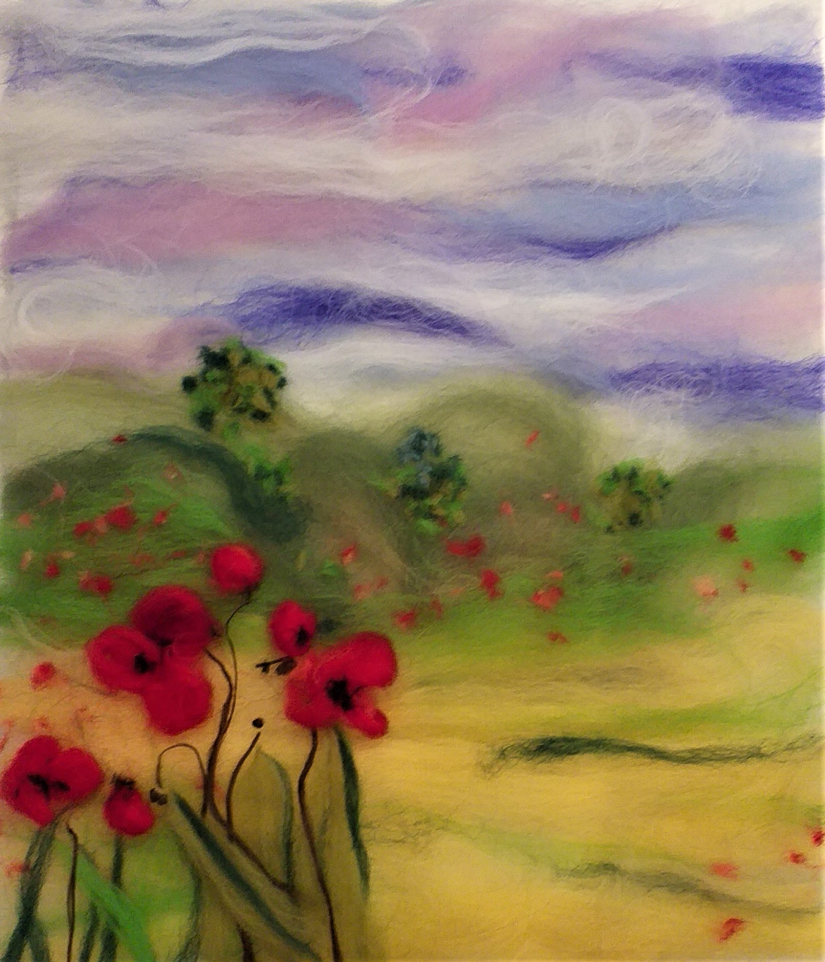 Phyllis's wool painting created at wool painting workshop at Bevere gallery with Artist Raya Brown