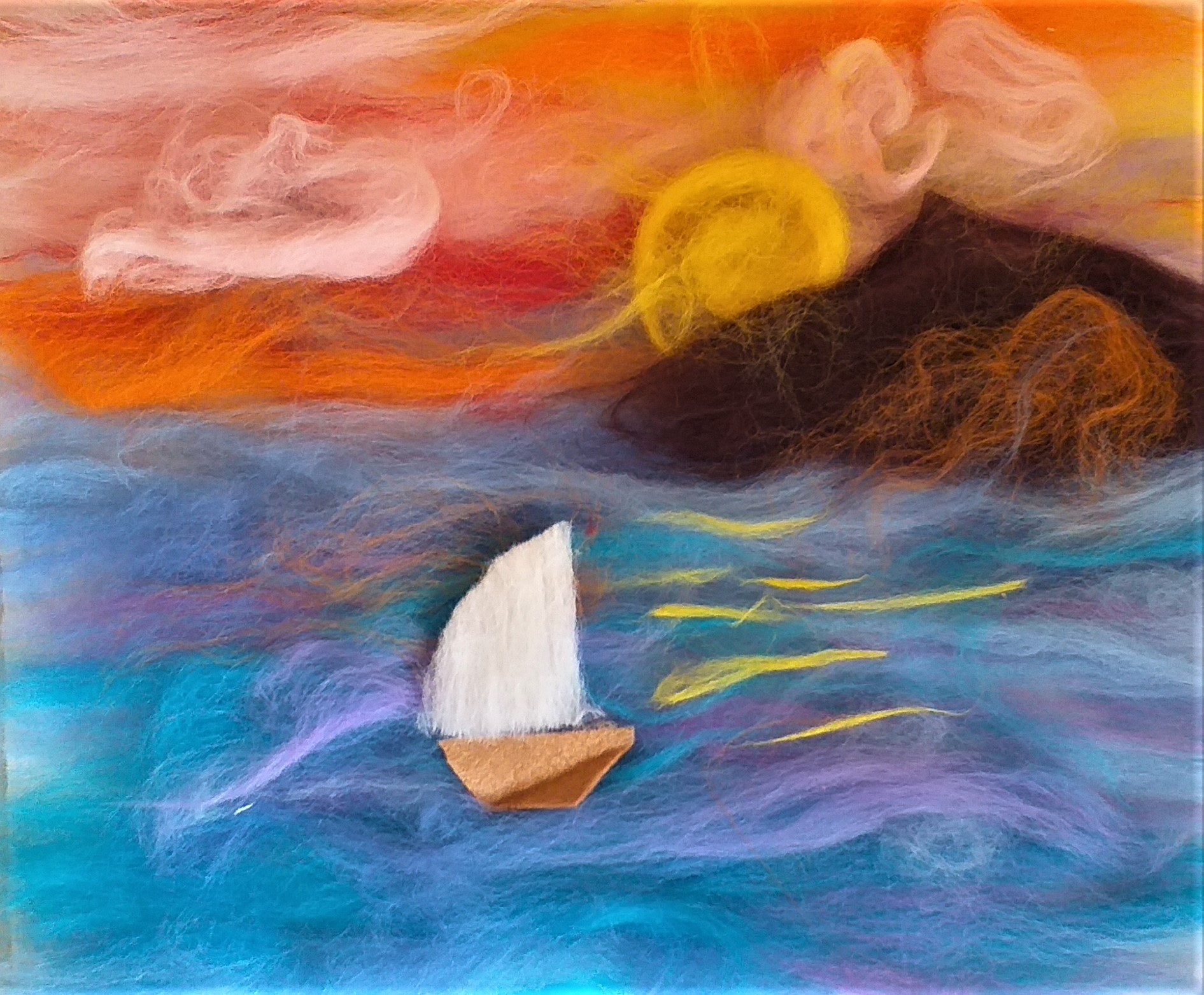 Lovely Sunset wool fibre paintings created by children at Raya's Art Lessons at Magic Wool Art and Craft Studio in West Midlands