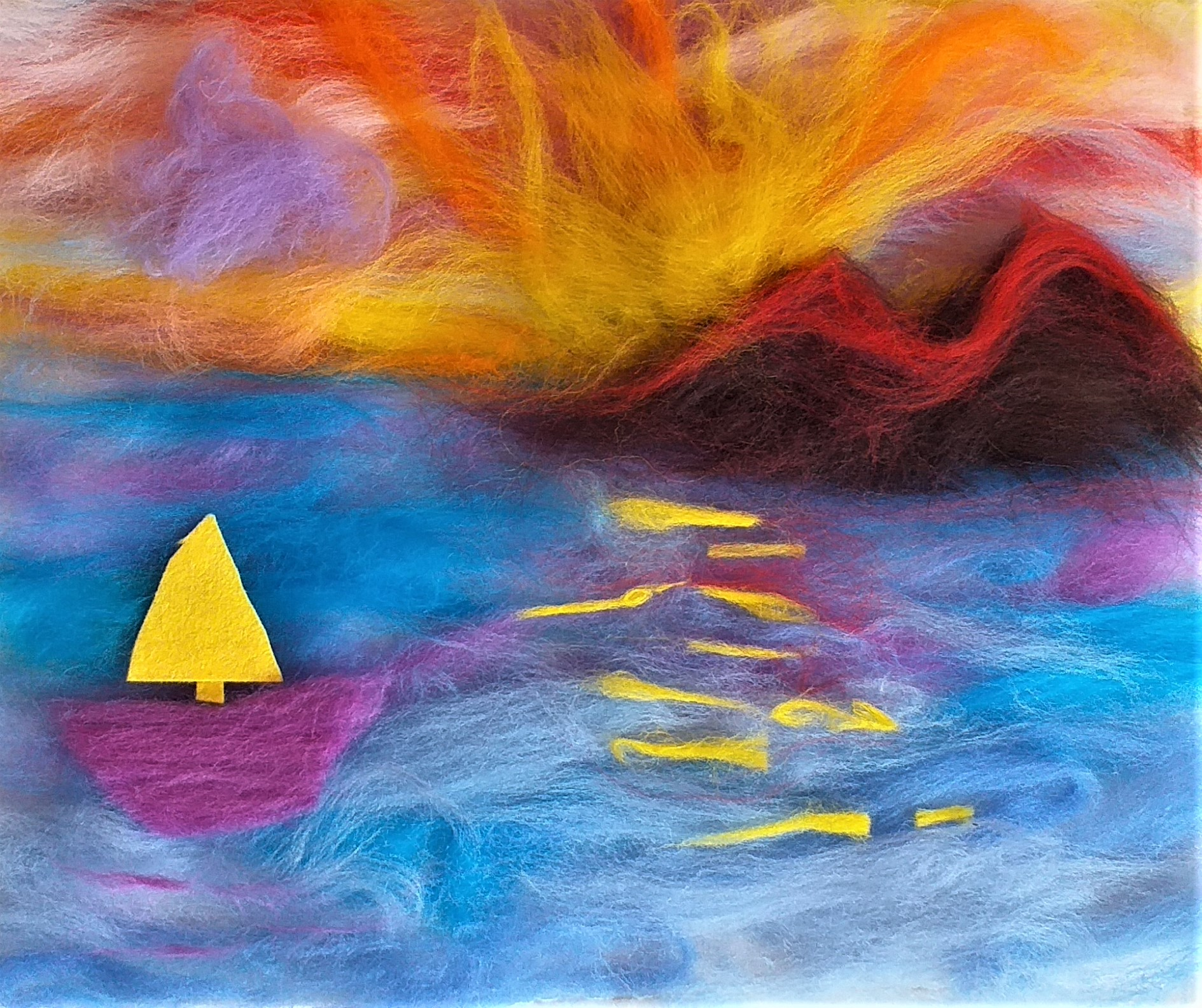 Vlada's wool fibre painting of sunset created with Artist Brown at her studio in Worcestershire