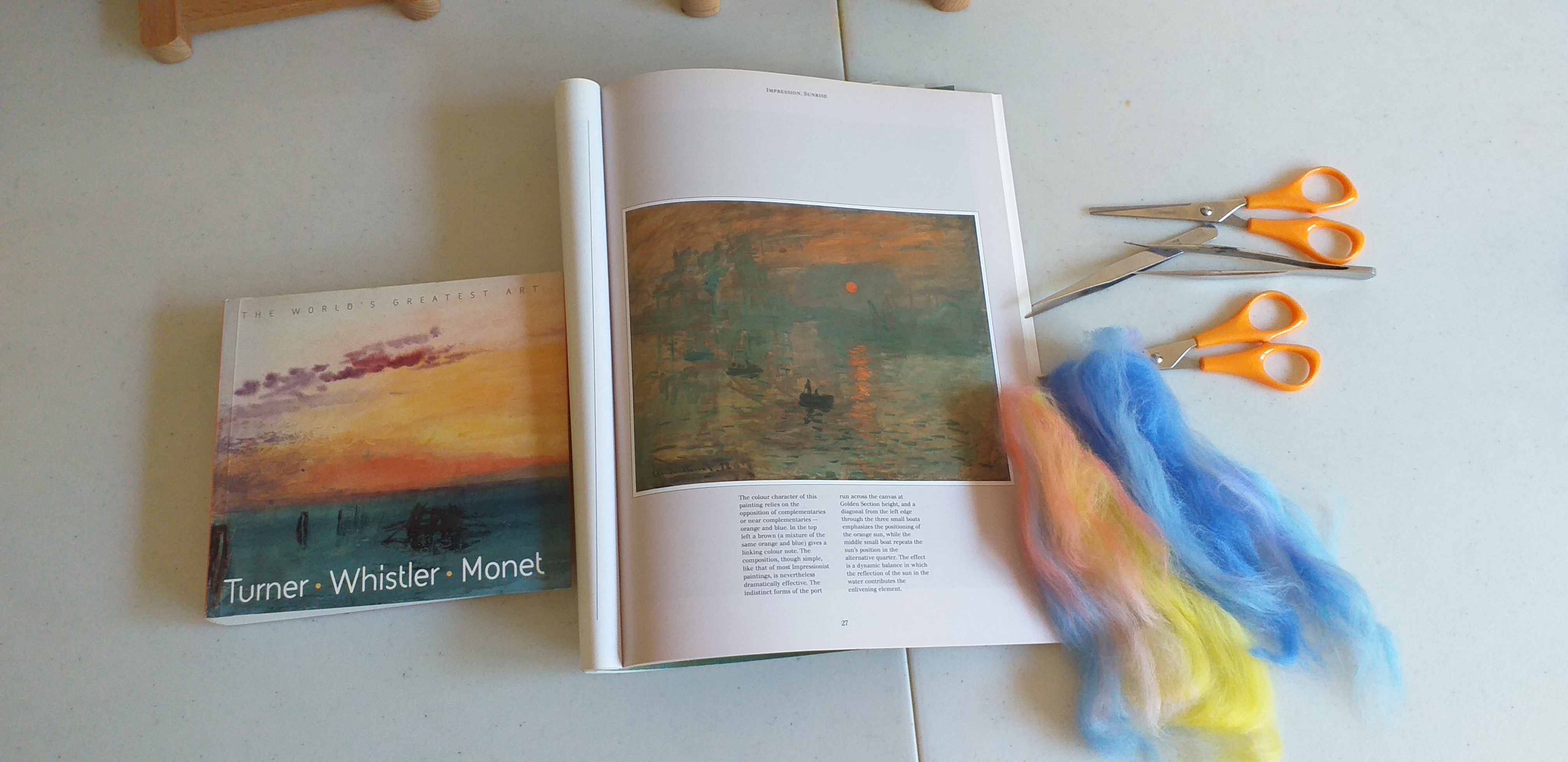 studying the work of Turner and Monet with children at Magic Wool Art and Craft Studio in Kidderminster Worcestershire