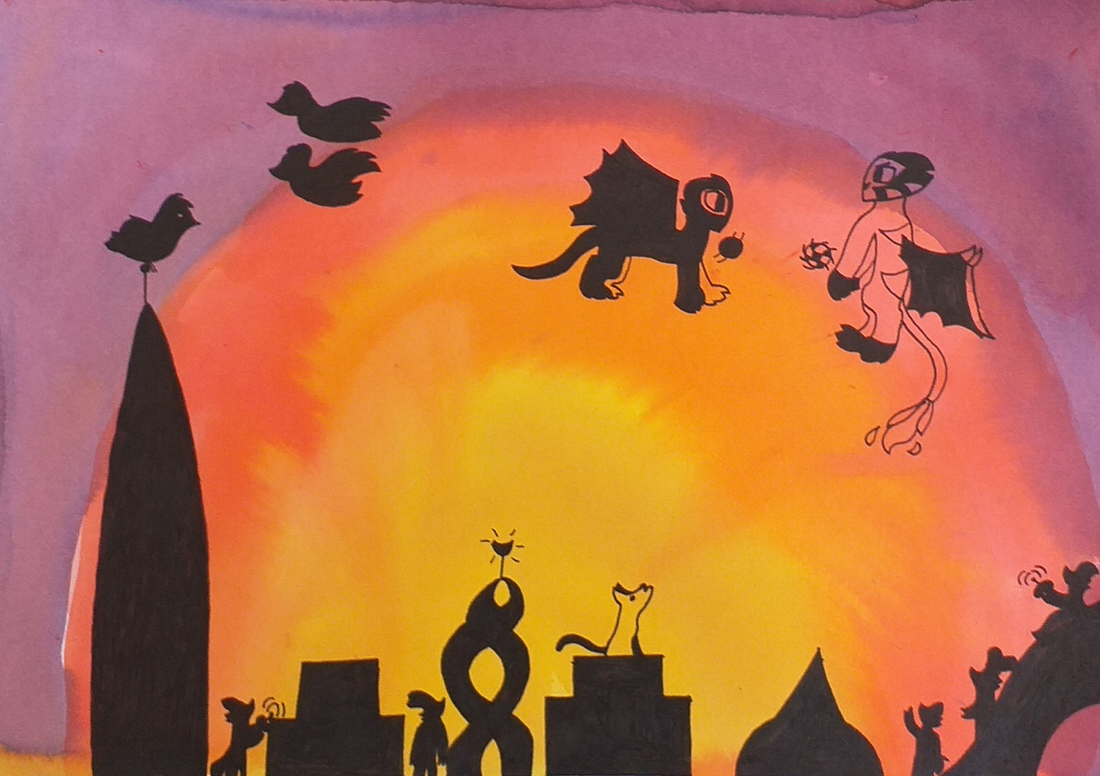 Art work created at Art classes for kids at Kidderminster West Midlands