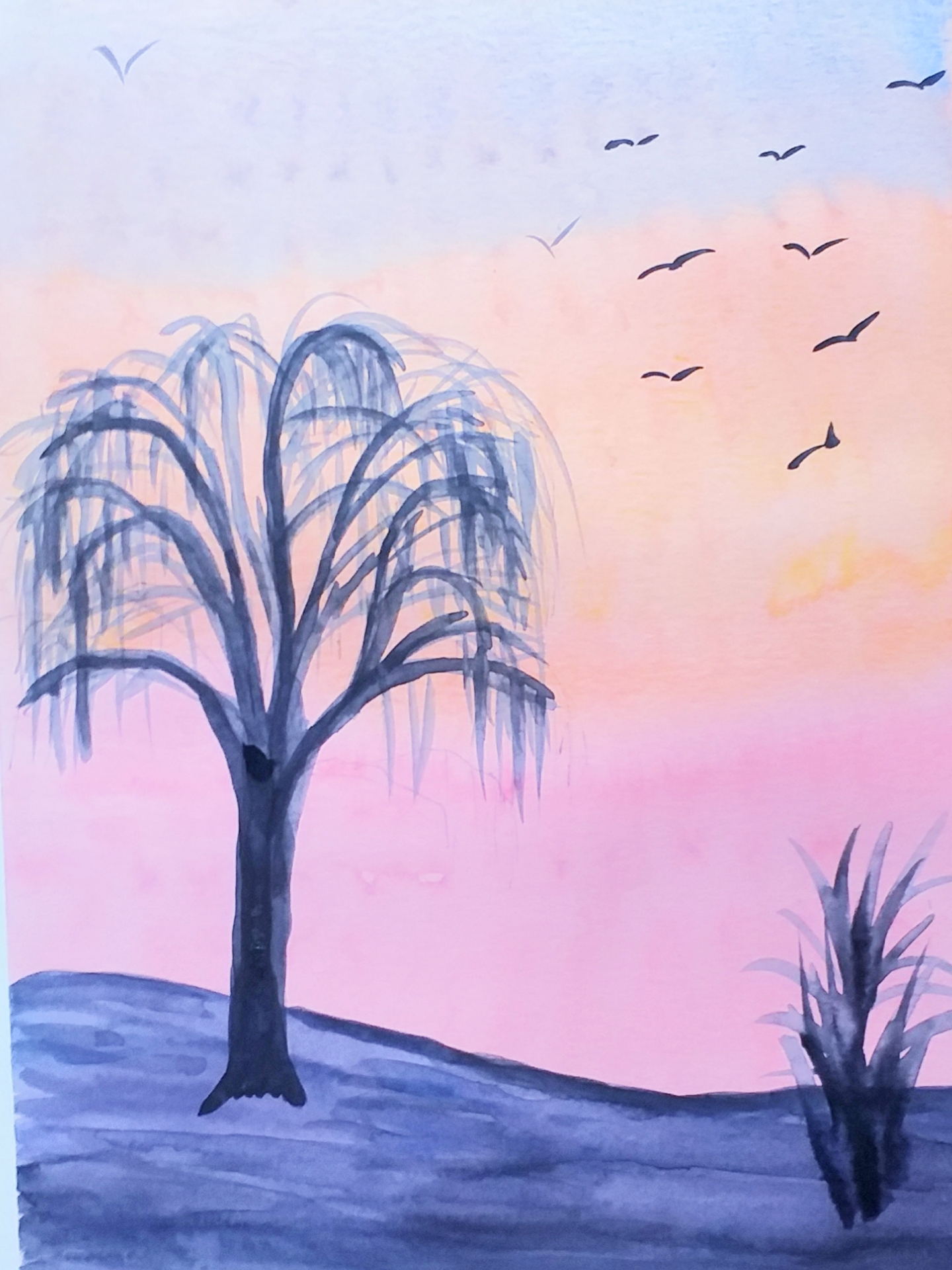 Watercolour of a sunset by Linda