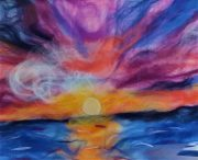 Beautiful landscapes in wool painting created at Raya's Art Classes in Kidderminster