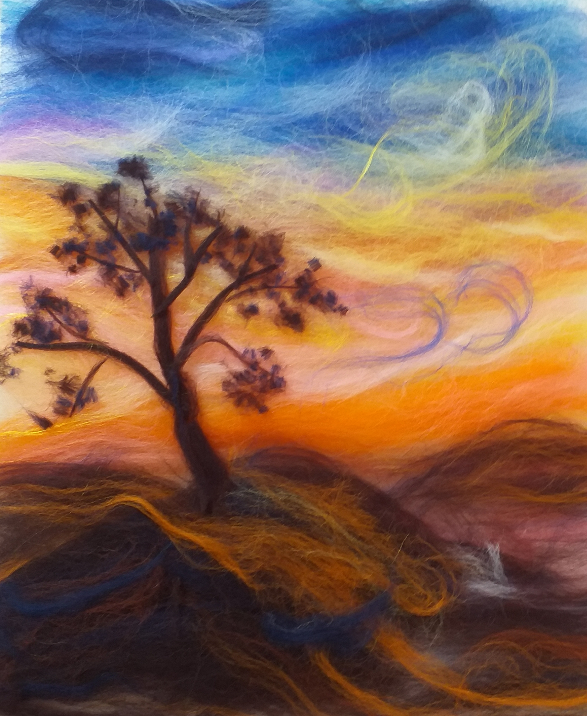 Sunset wool painting made by a complete beginner at Art Classes in Kidderminster