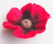 Handmade felted flower brooch face-to-face course. Felted poppy