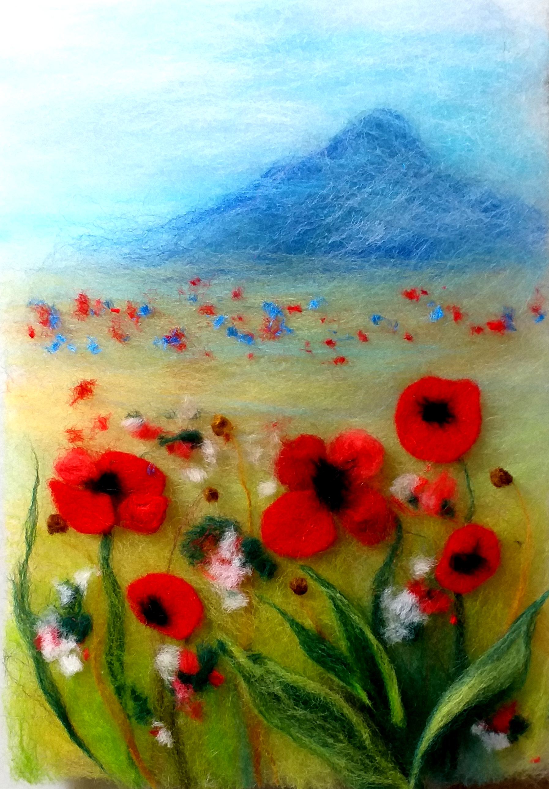 'Field with red poppies' wool painting online course
