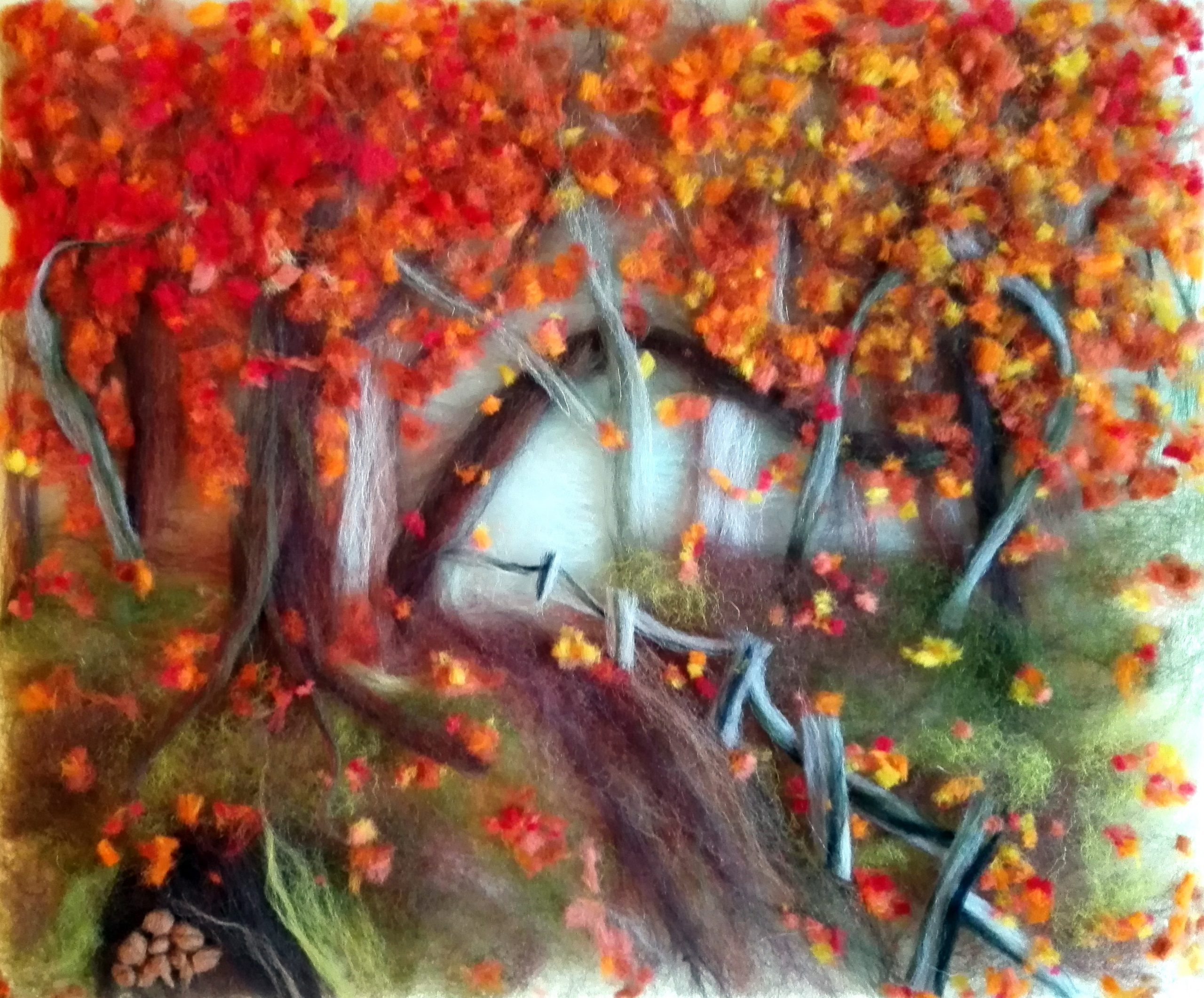 'Autumn Landscape' wool painting art course in Worcestershire