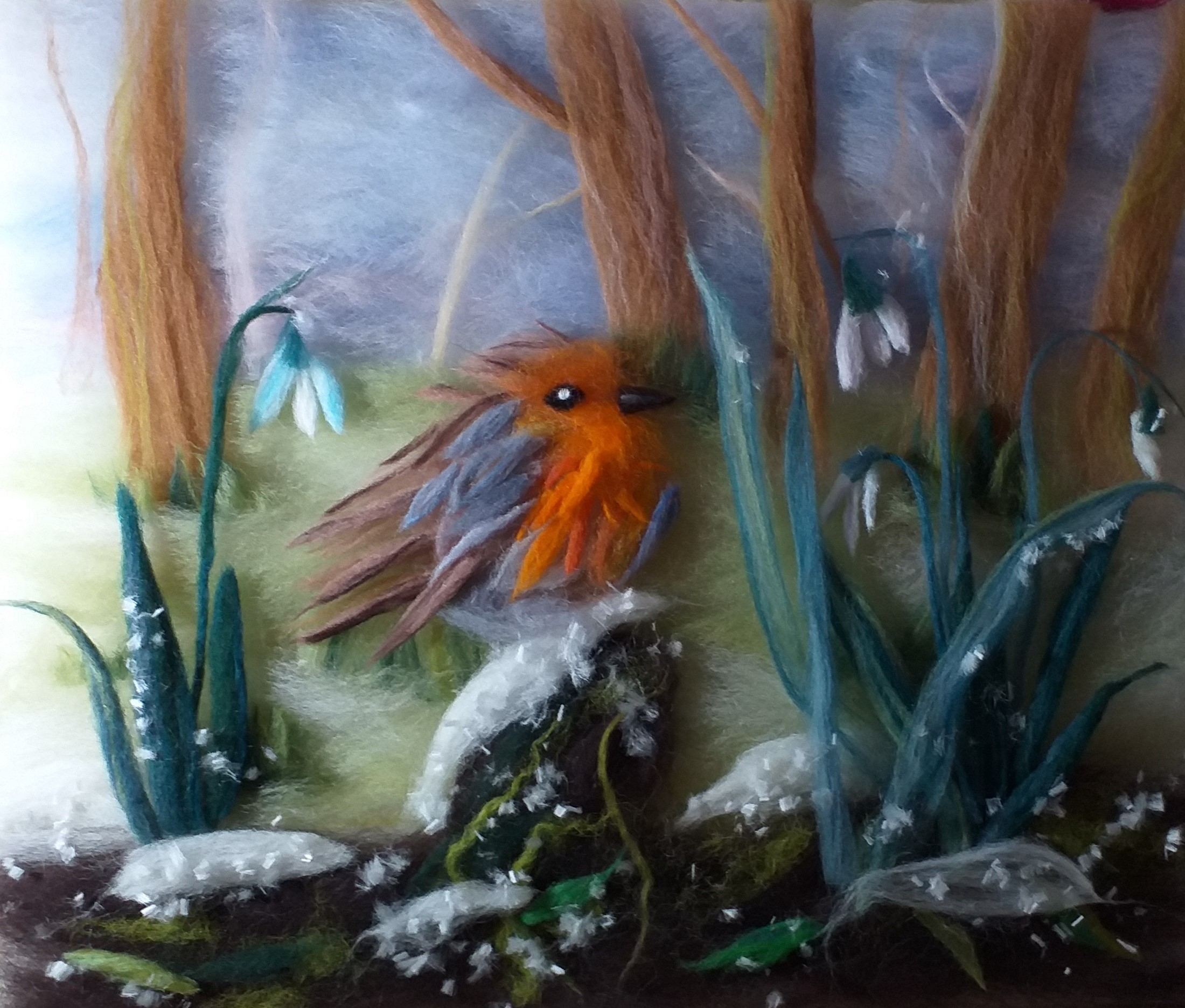 Red Robin wool fibre painting created by a student at Magic Wool Art and craft Studio in Kidderminster