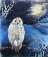 Learn how to make a Christmas Wool Fibre painting at Raya's Art Textiles courses in Worcestershire.