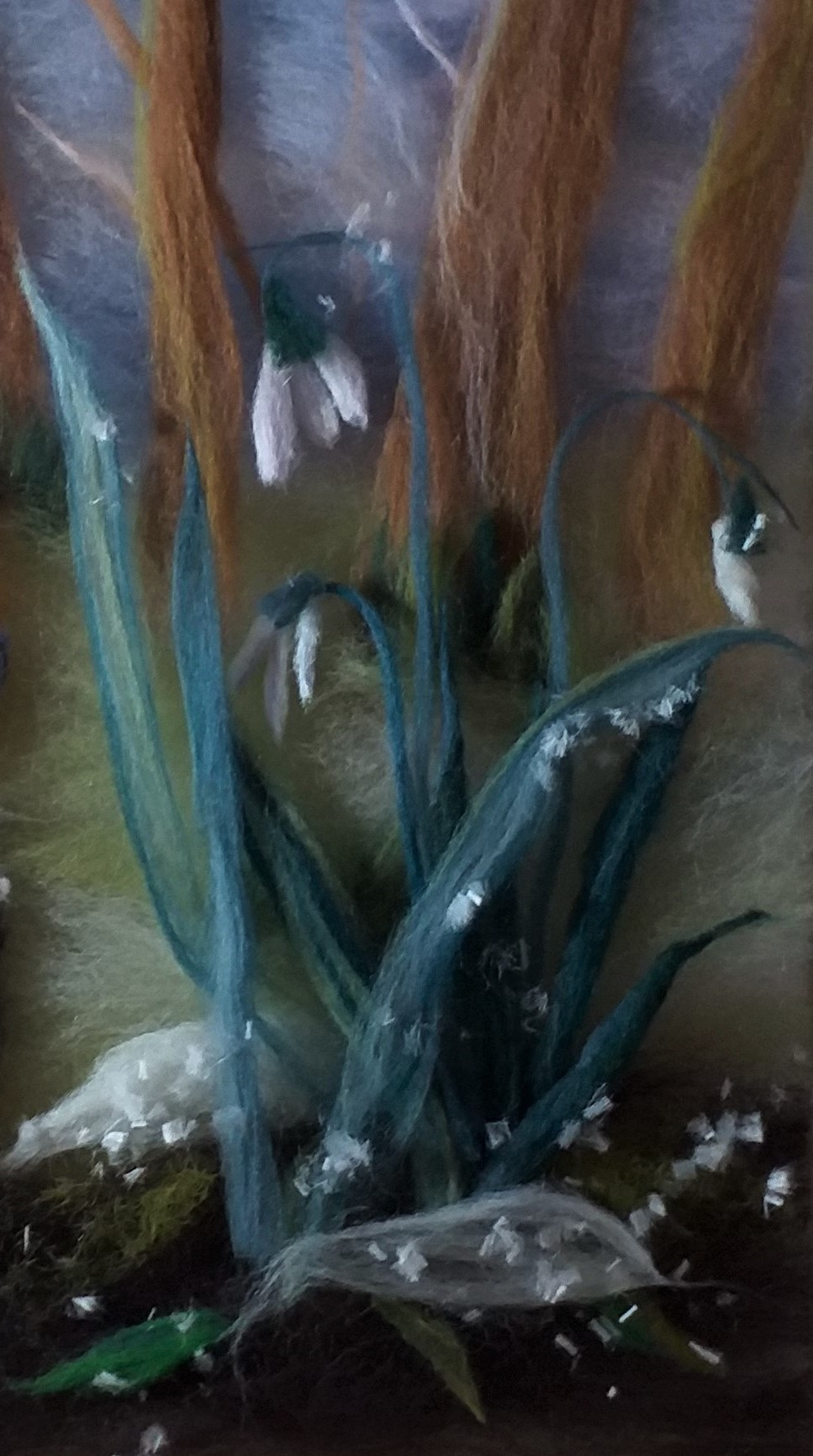 Snowdrops in wool painting