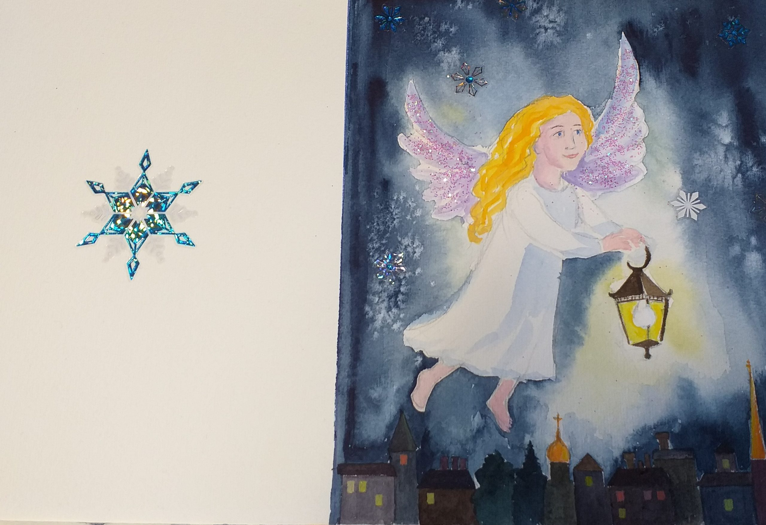 Hand painted watercolour Christmas card with an Angel