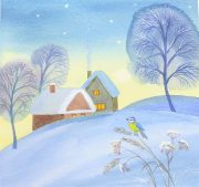Watercolour Christmas cards online art course via zoom with artist Raya Brown