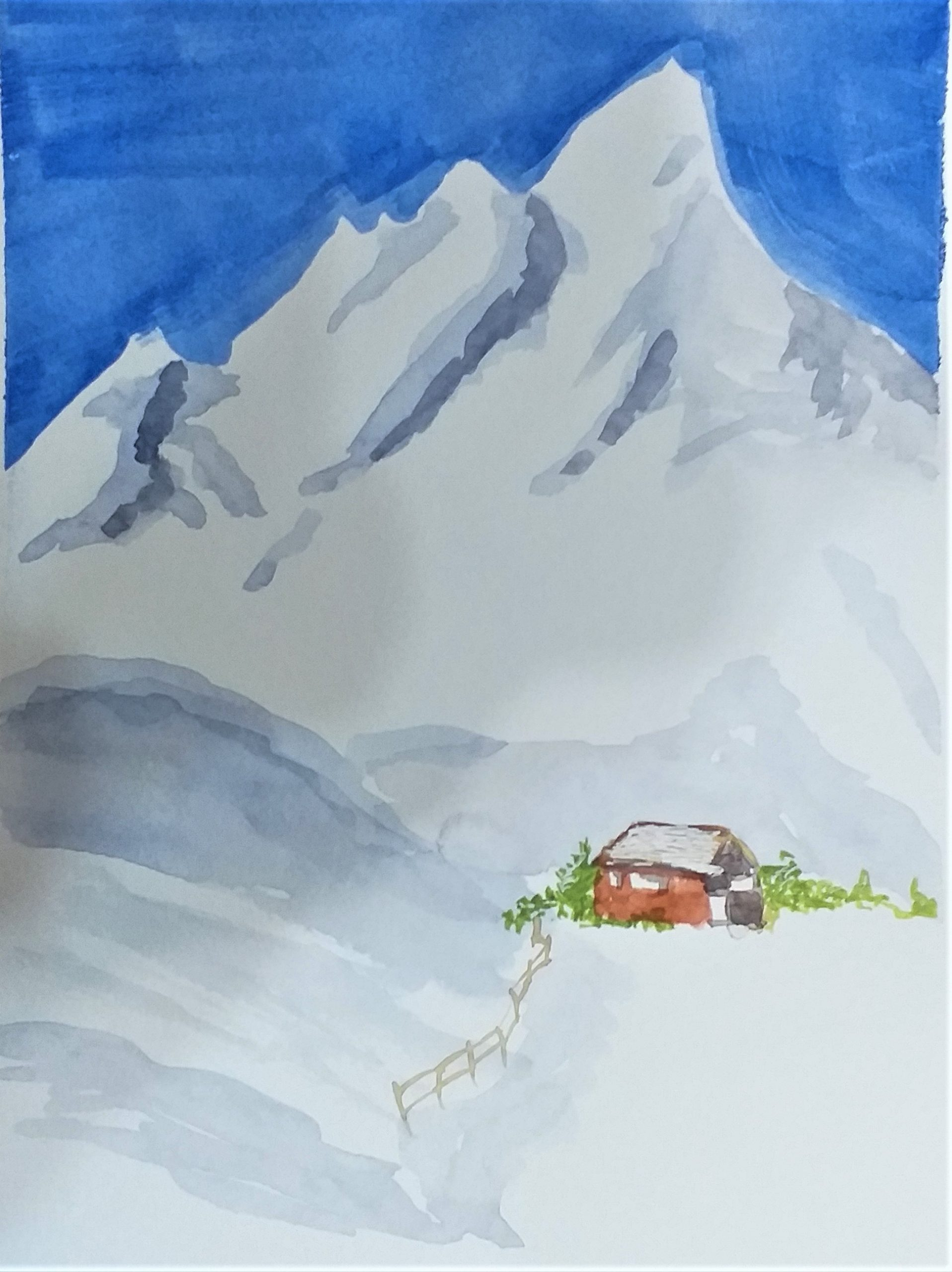 Watercolour painting by John created at art classes in Worcestershire