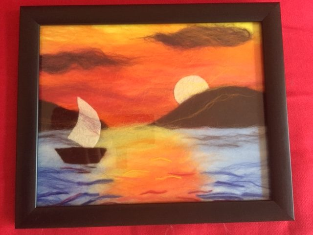 Wool painting of a sunset by Rachel created at online art textiles course with Raya Brown