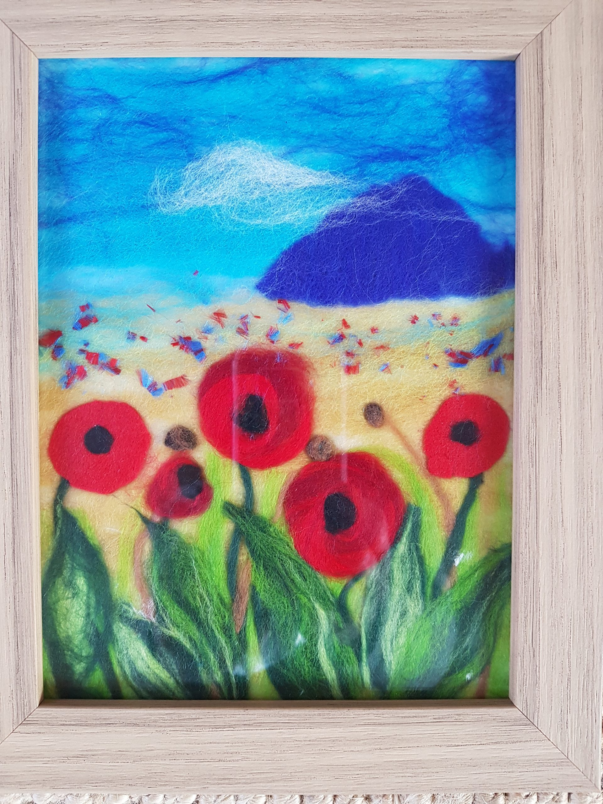 Wool painting created at online wool painting therapeutic art course