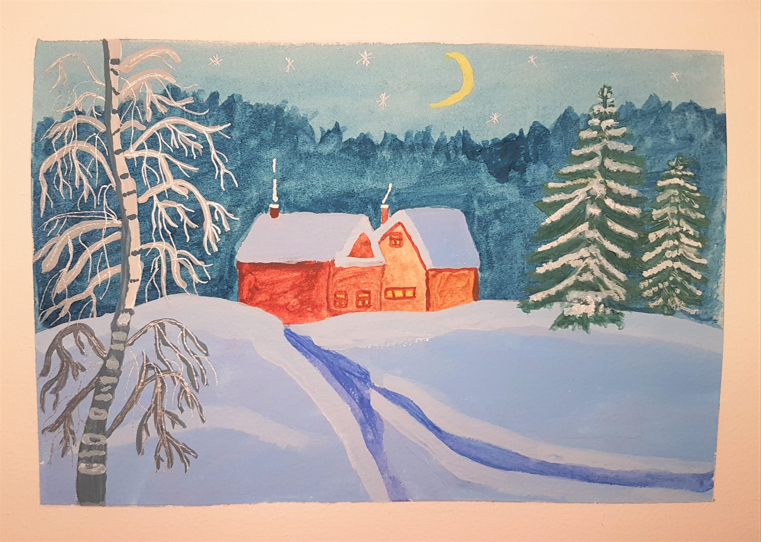 Christmas card in watercolour painted by Dasha at online art course