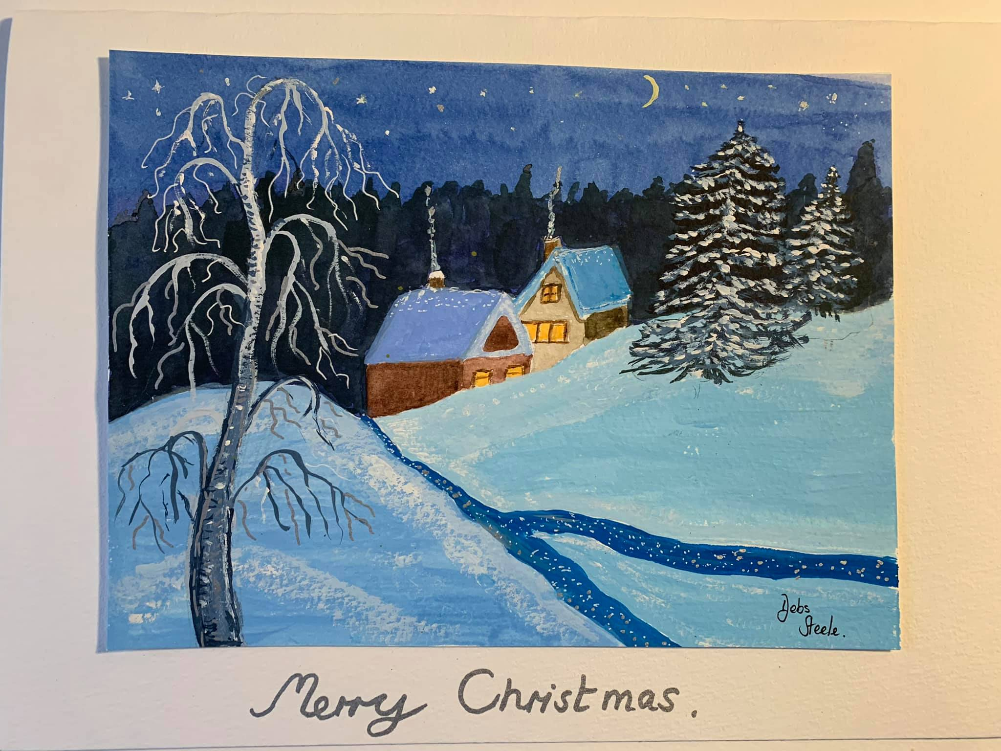 Debs-Christmas-card-in-watercolour-made-with-artist-Raya-Brown-at-online-art-course