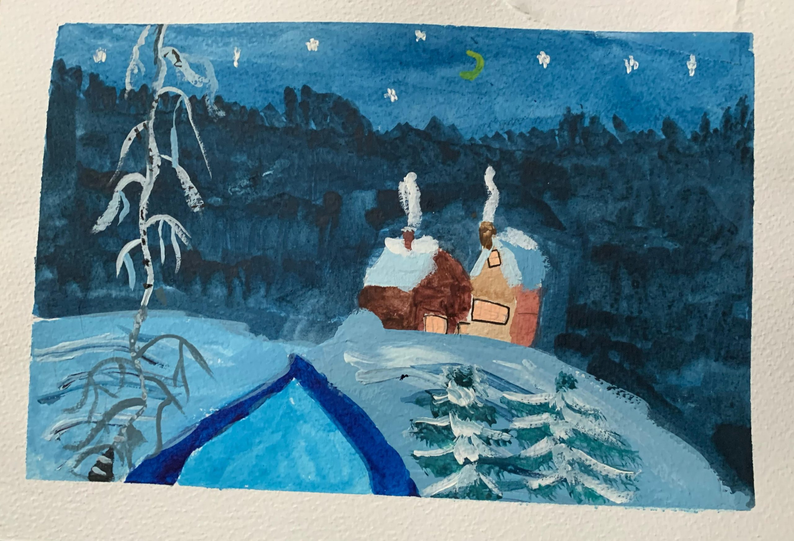 Christmas Scene painted by little Milly at online art class