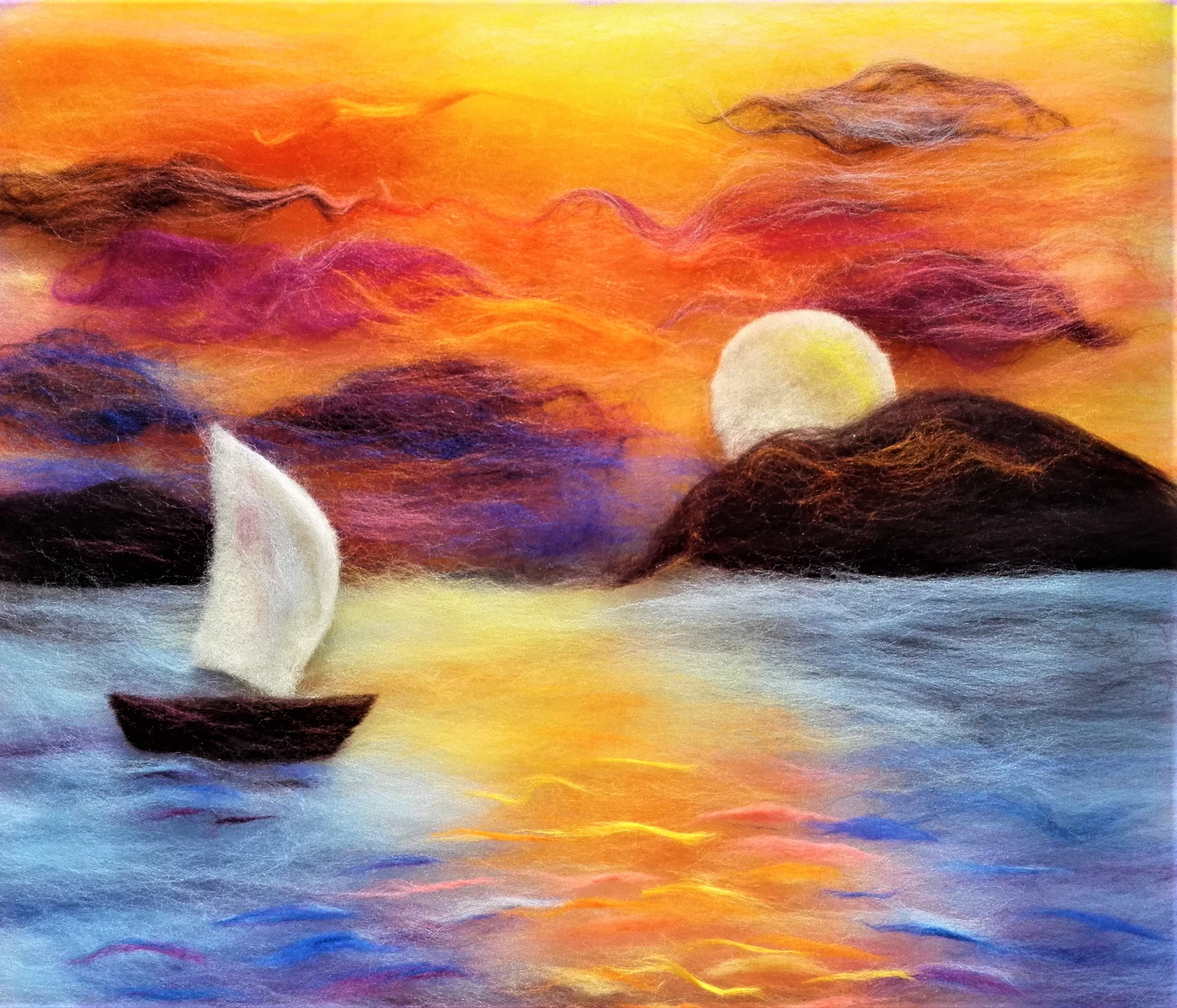 Sunset wool painting art and craft kit