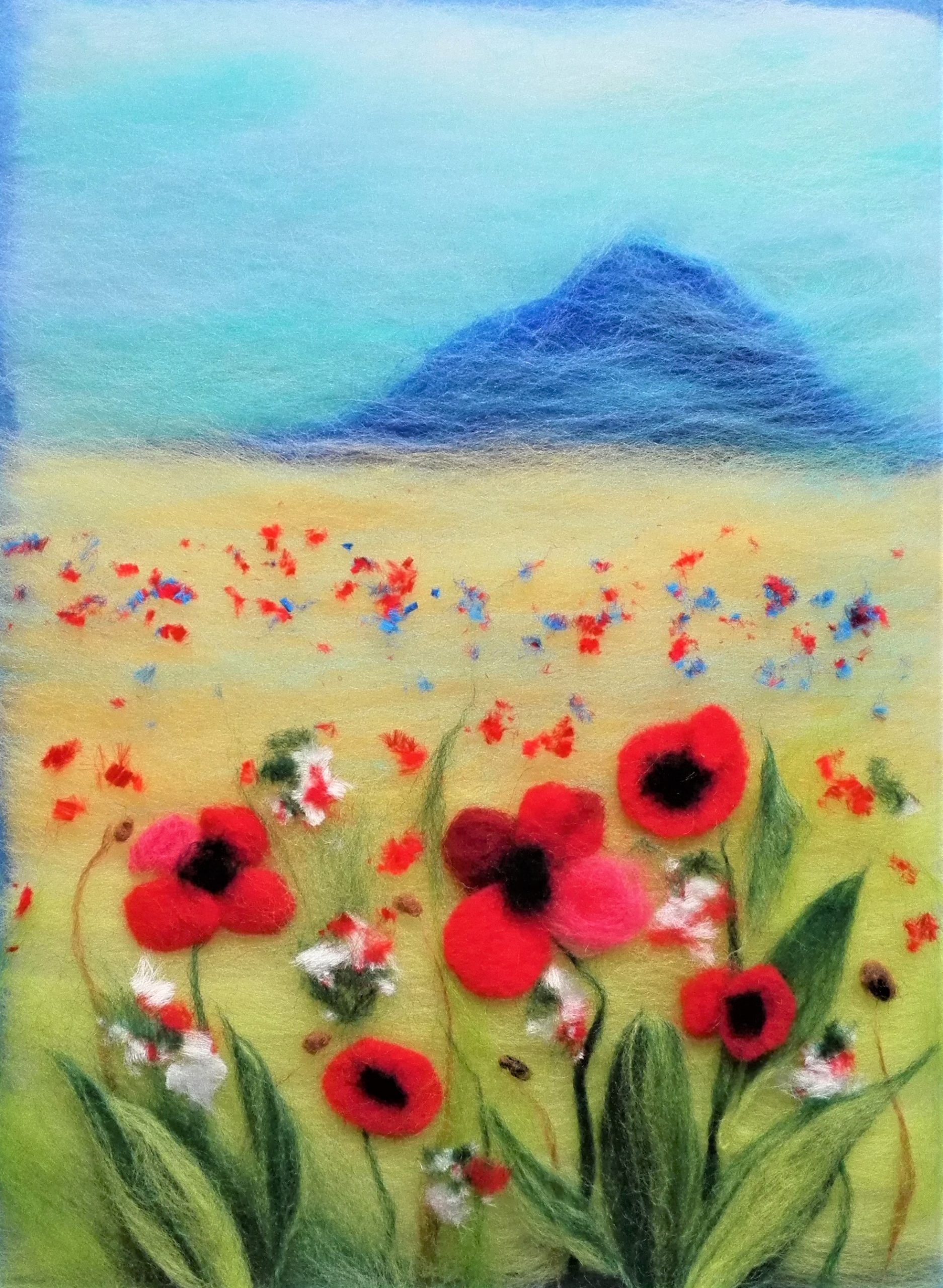 Field with red poppies wool painting created at online art course with live tuition