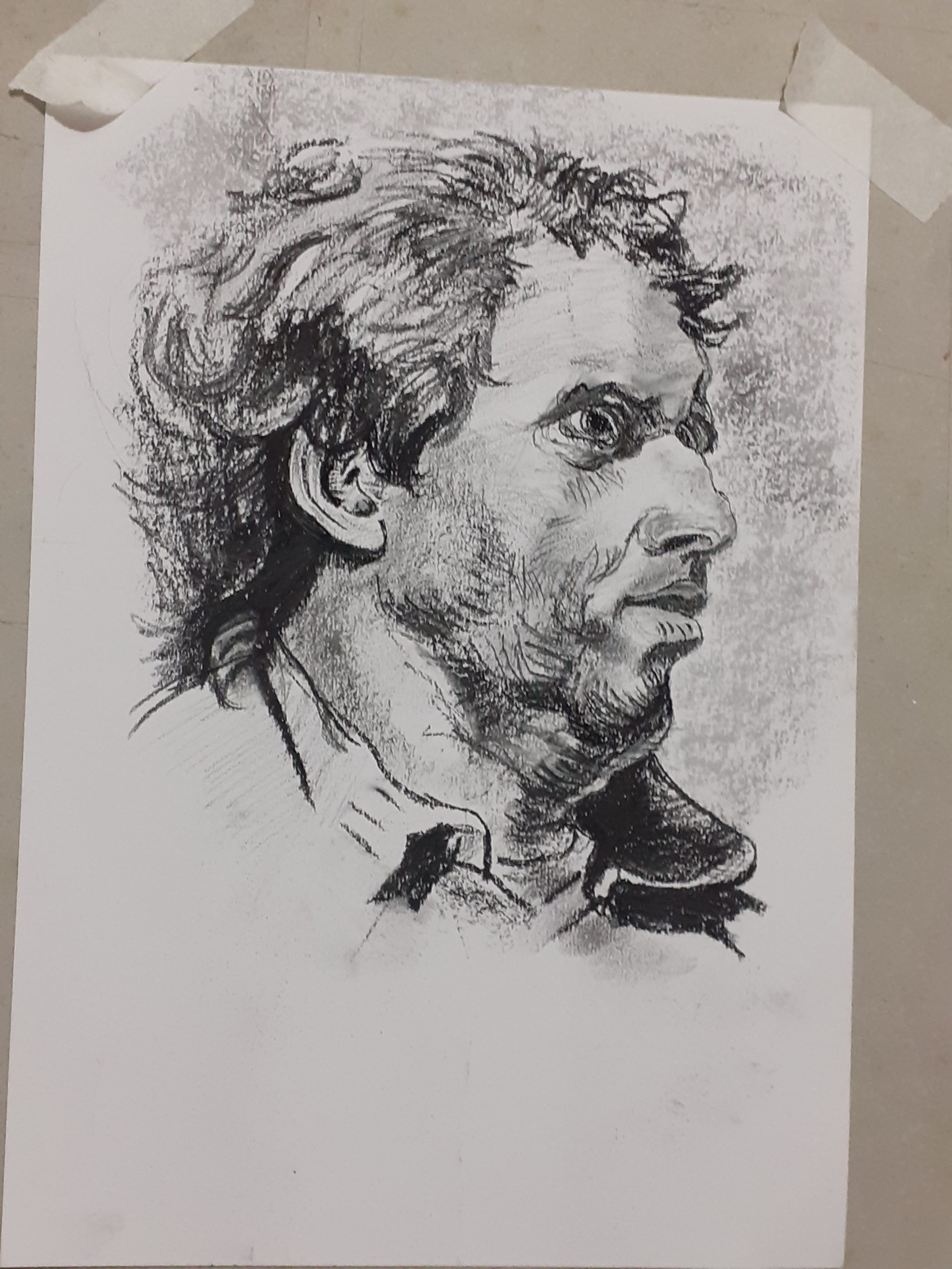 Drawing of a man by Gill , online art course via zoom with live tuition