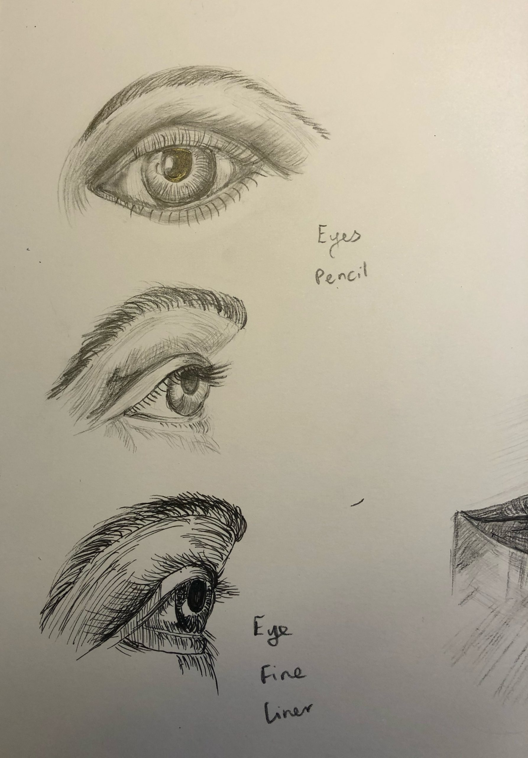Michelle's drawing of eyes create at online art course with live tuition with Worcestershire Artist Raya Brown