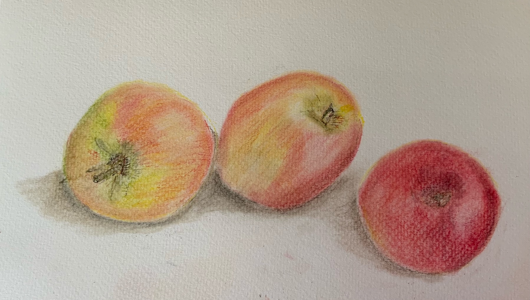 Pastel Drawing of apples . Created by a student at online art classes with Raya Brown
