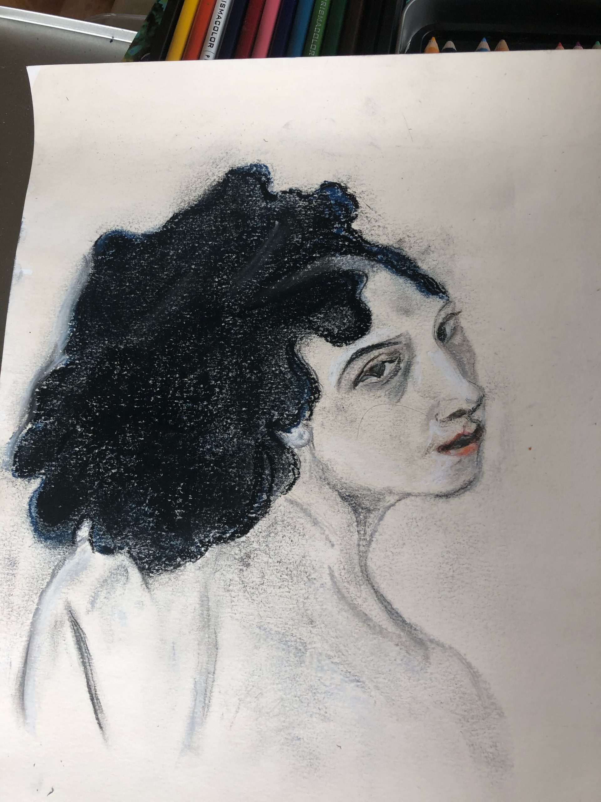 Woman's portrait by Michelle drawn at online art classes with artist Raya Brown