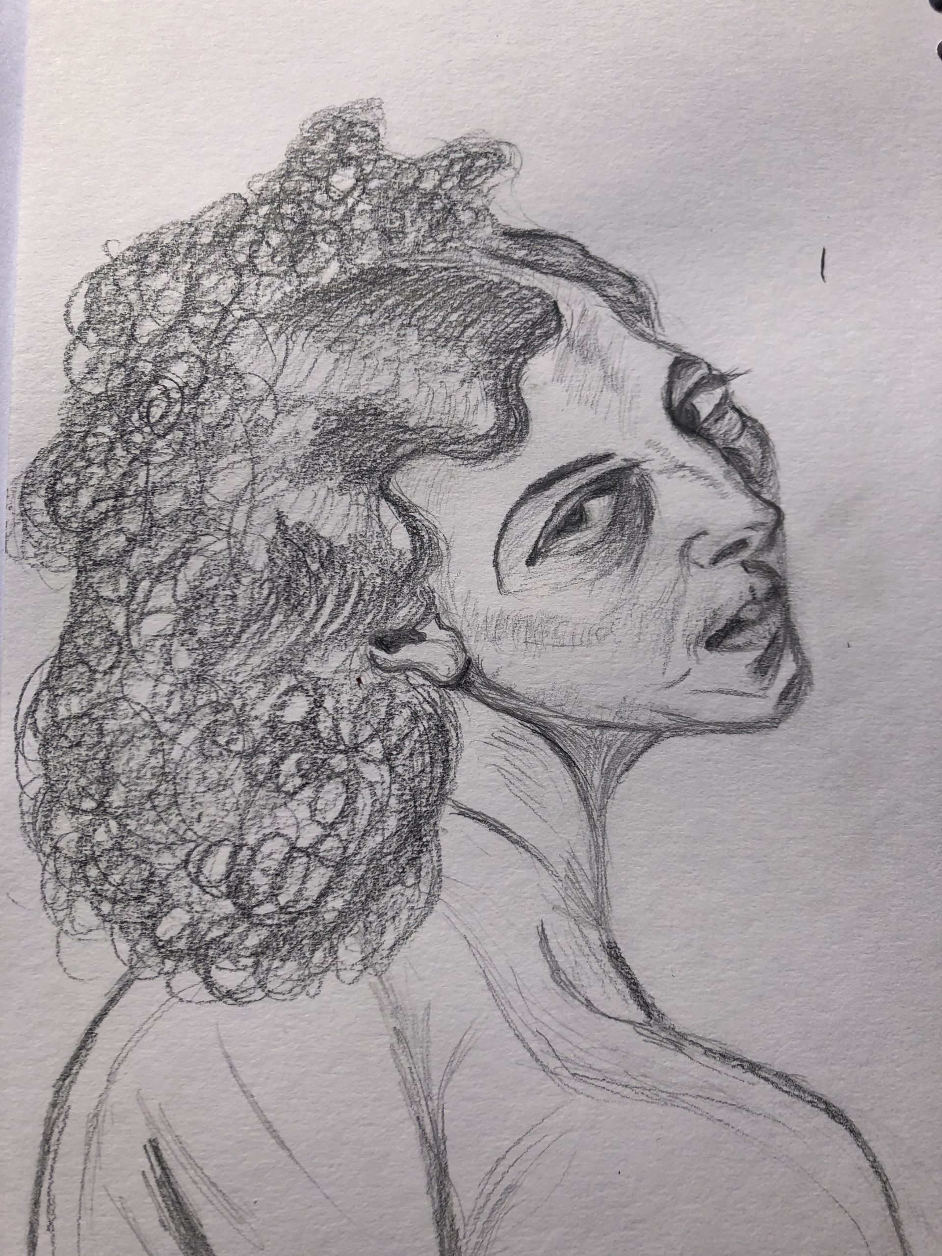 portrait of a ballerina by Kate drawn at online art portrait classes for beginners