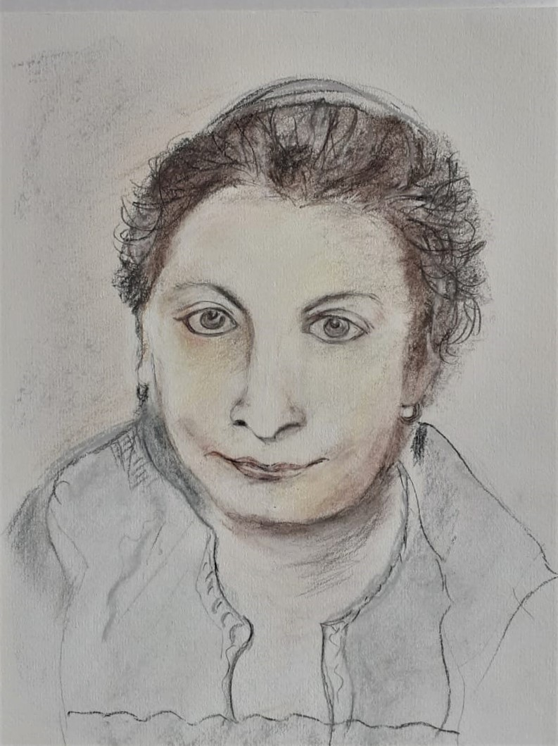 Portrait of a woman by Linda. Online interactive art course